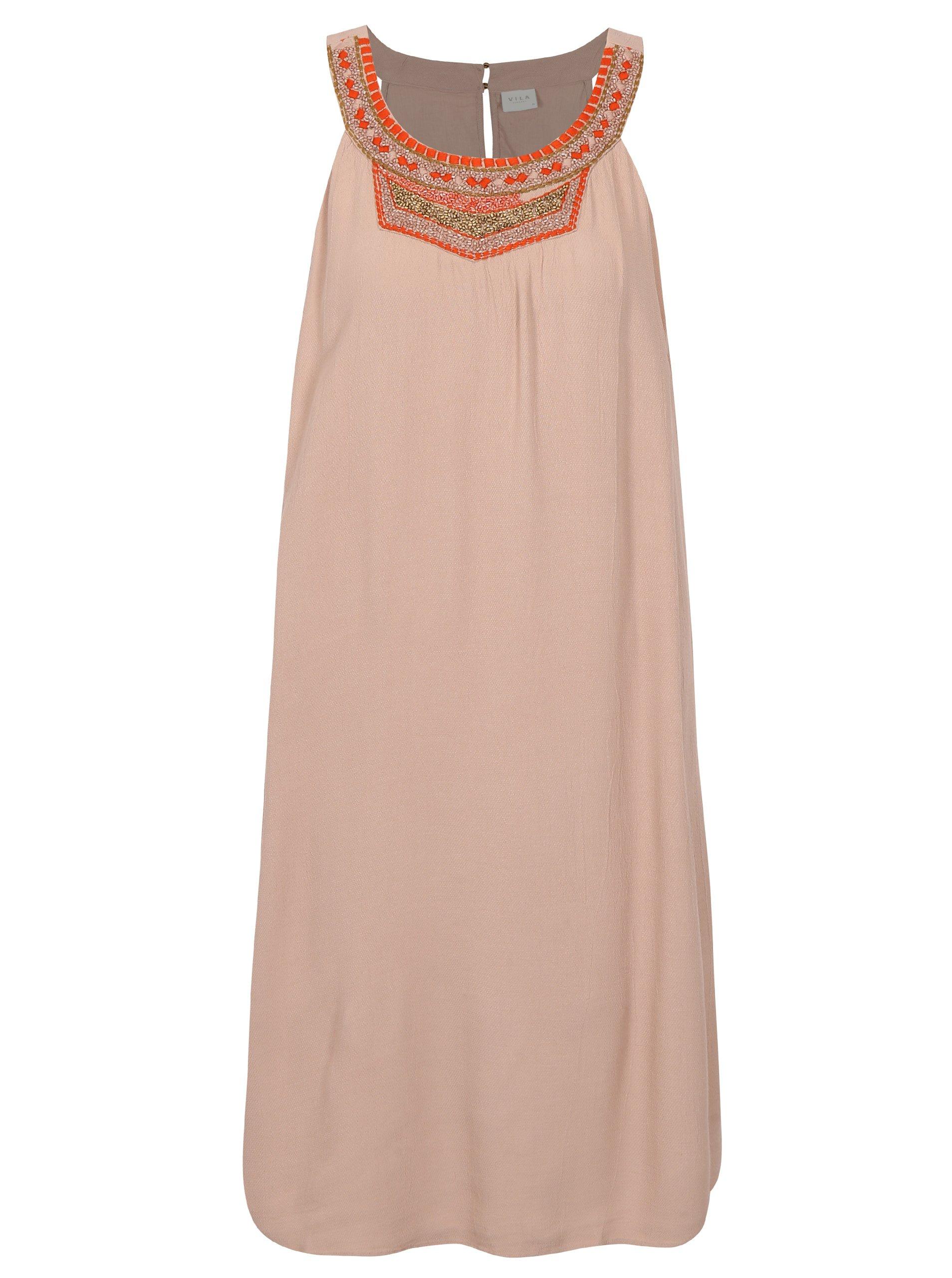 Staroružové šaty s ozdobnými korálkami VILA Asha