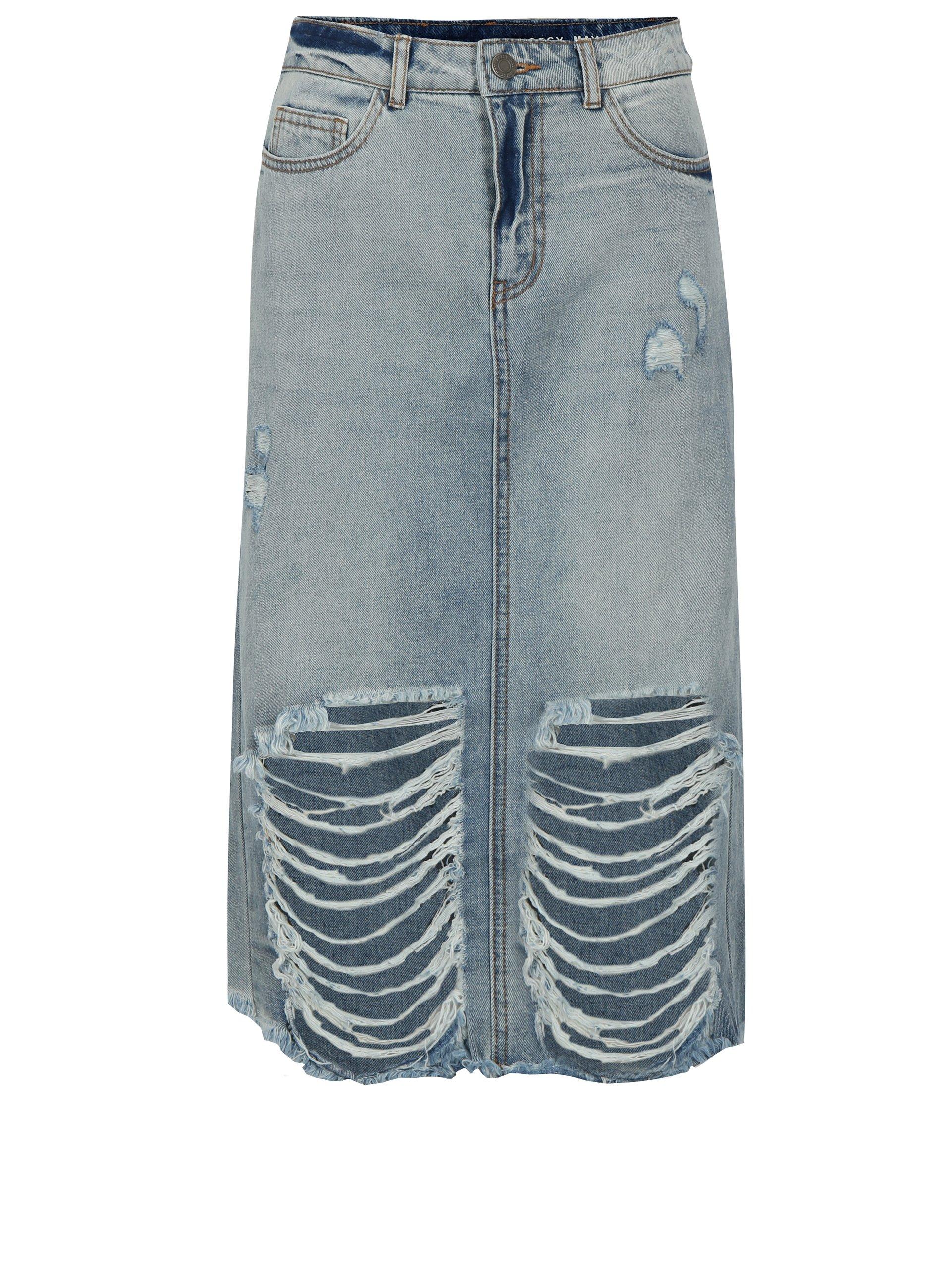 Dzinova sukne s vysokym pasem levně  f000b82062
