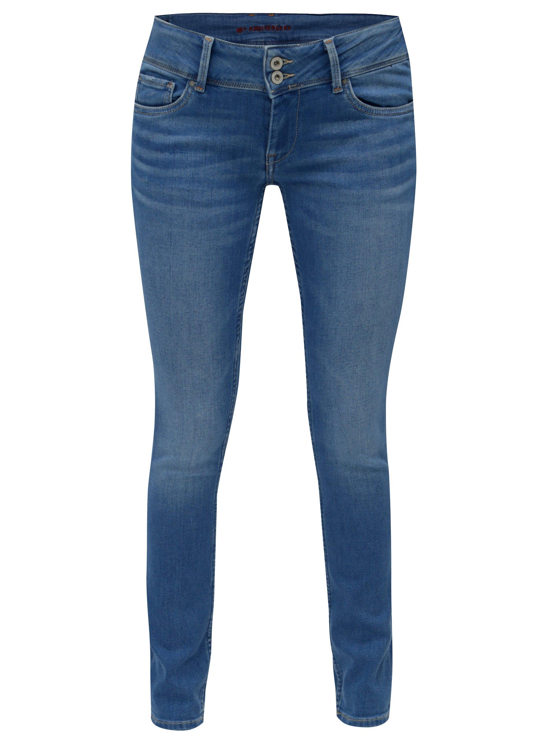 Modré dámske slim fit rifle s nízkym pásom Pepe Jeans Vera