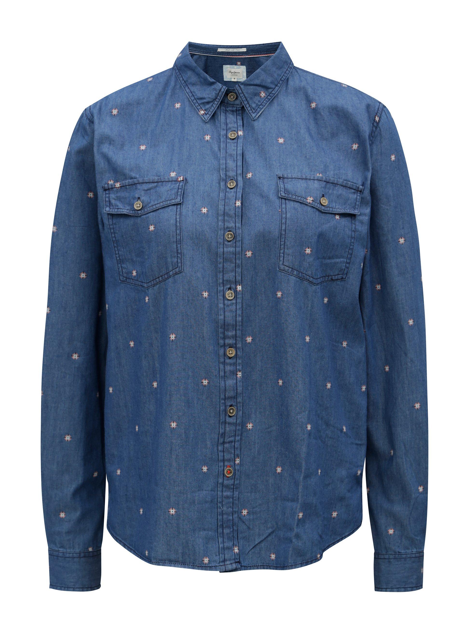 12124ec74a Modrá dámska rifľová košeľa Pepe Jeans Layla
