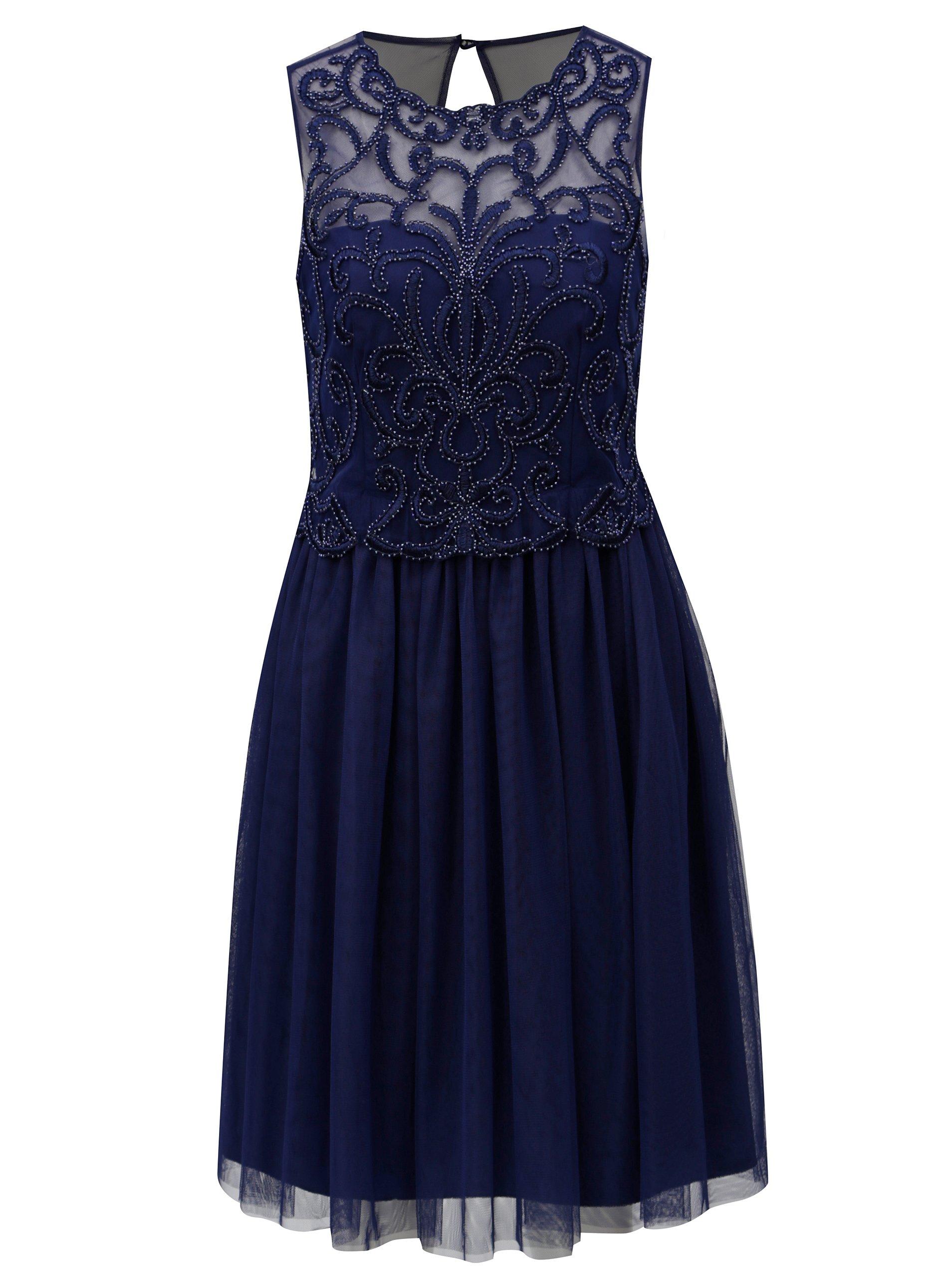 Tmavomodré šaty s tylovou sukňou Little Mistress