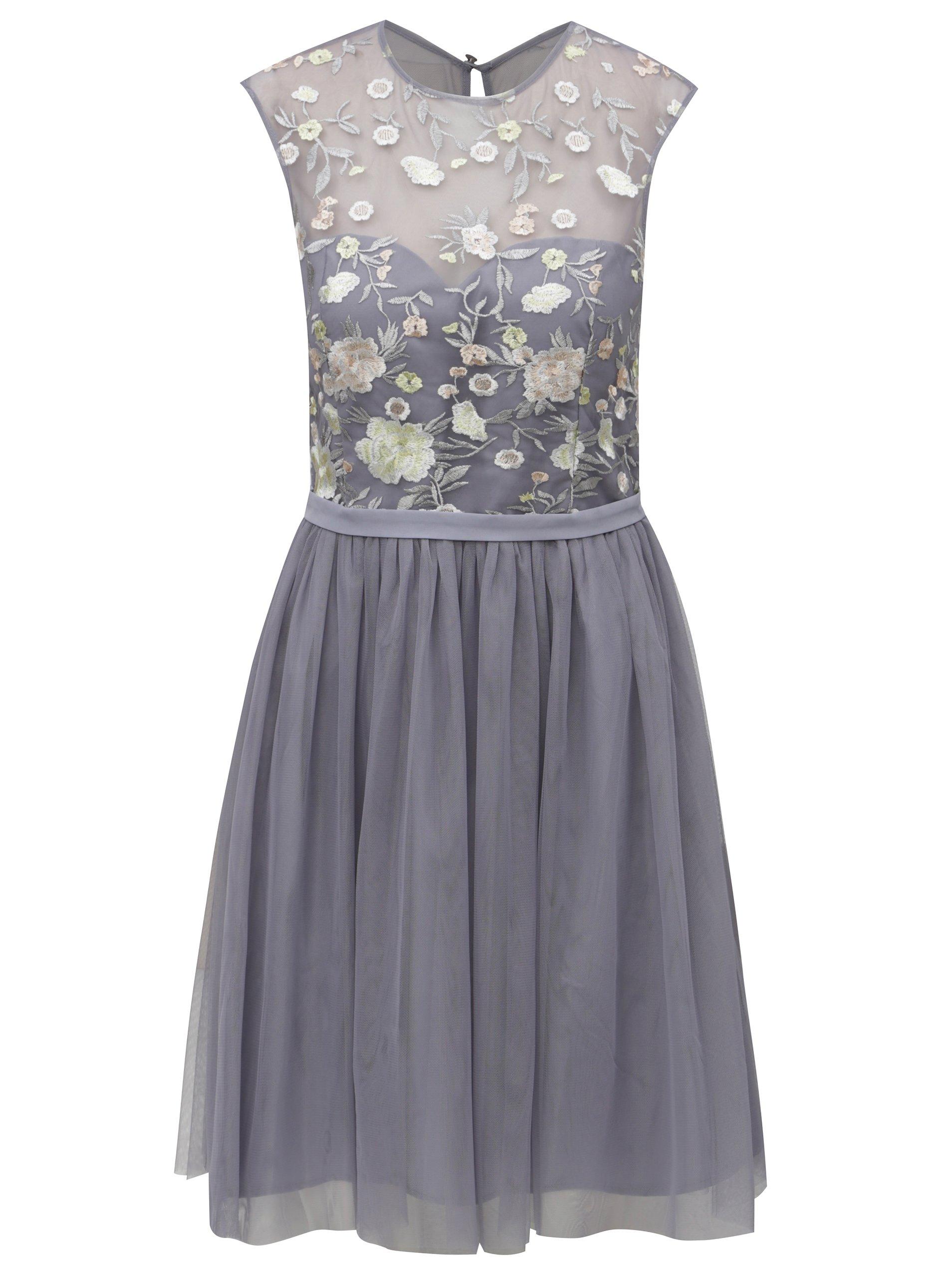 Sivé šaty s tylovou sukňou Little Mistress