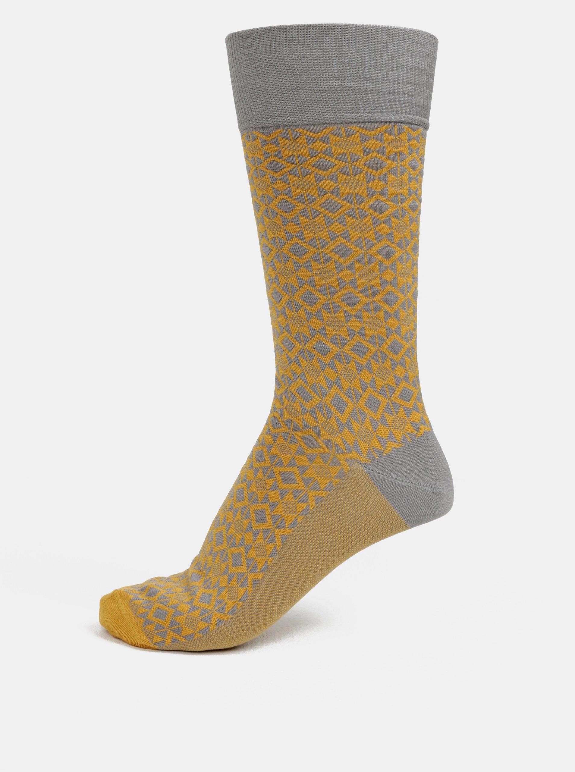 Šedo-hořčicové pánské vzorované ponožky Happy Socks Dressed Aztec