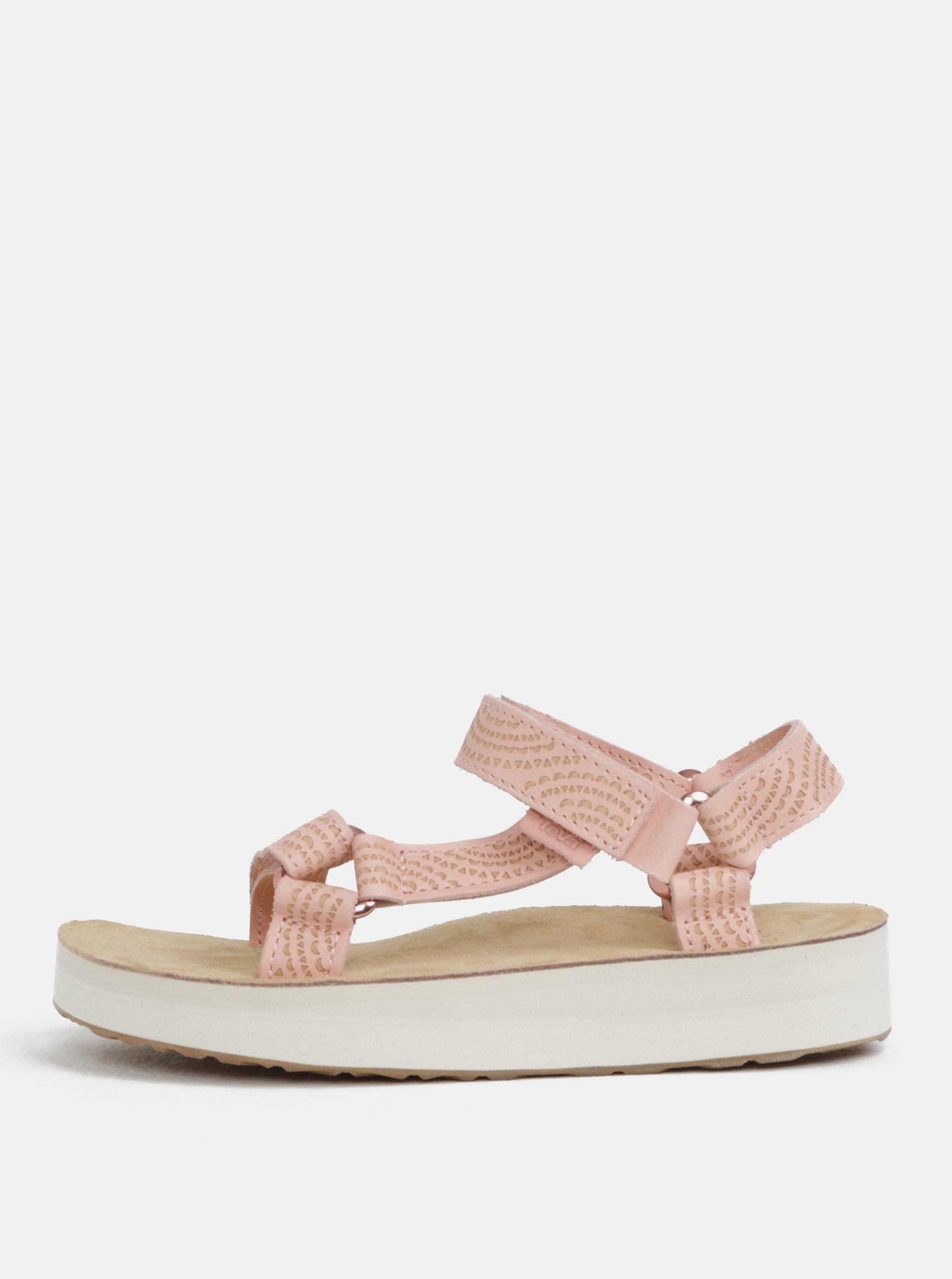 5a9e4600ae2b Svetloružové dámske kožené vzorované sandále na platforme Teva