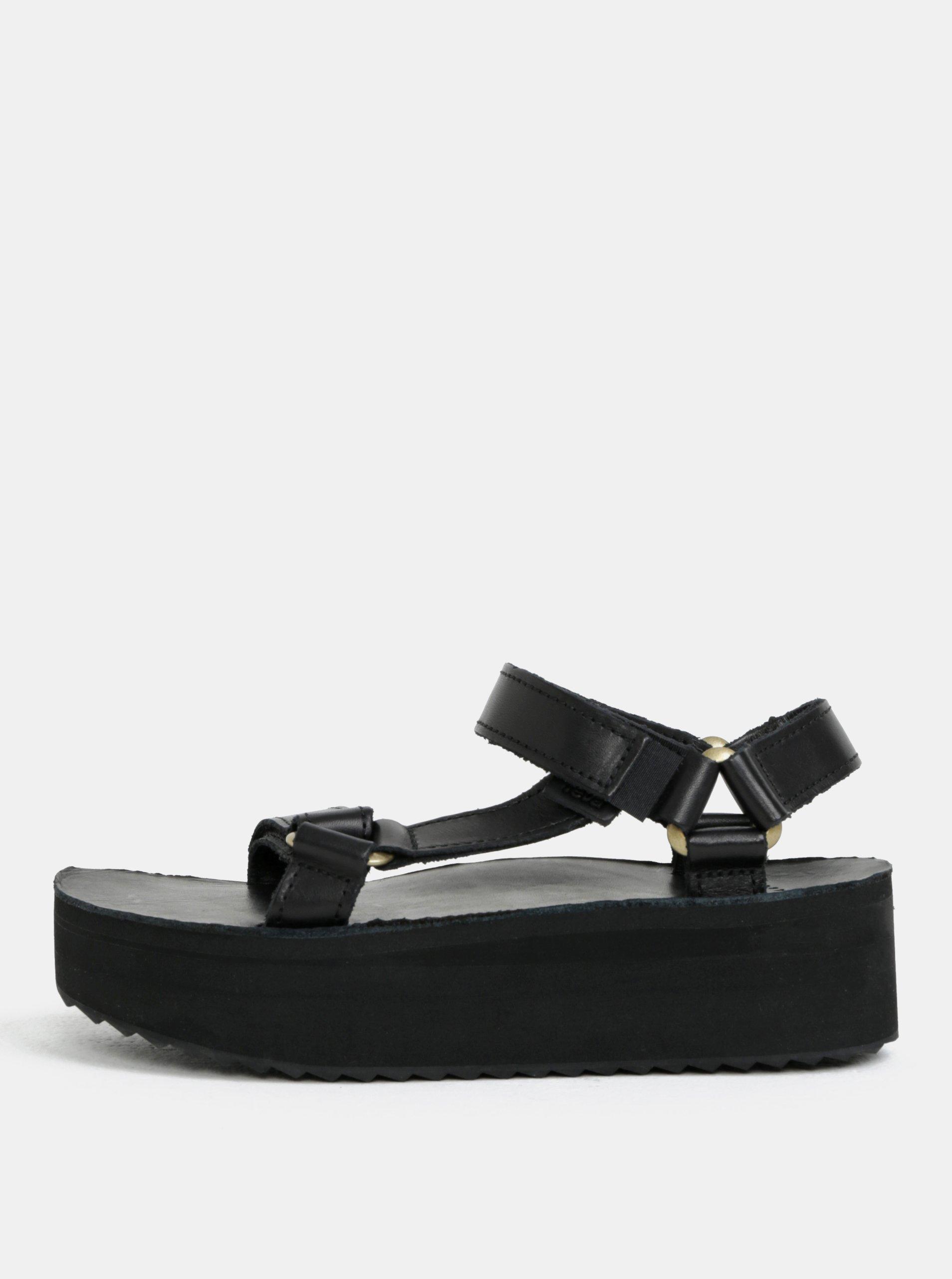 Čierne dámske kožené sandále na platforme Teva