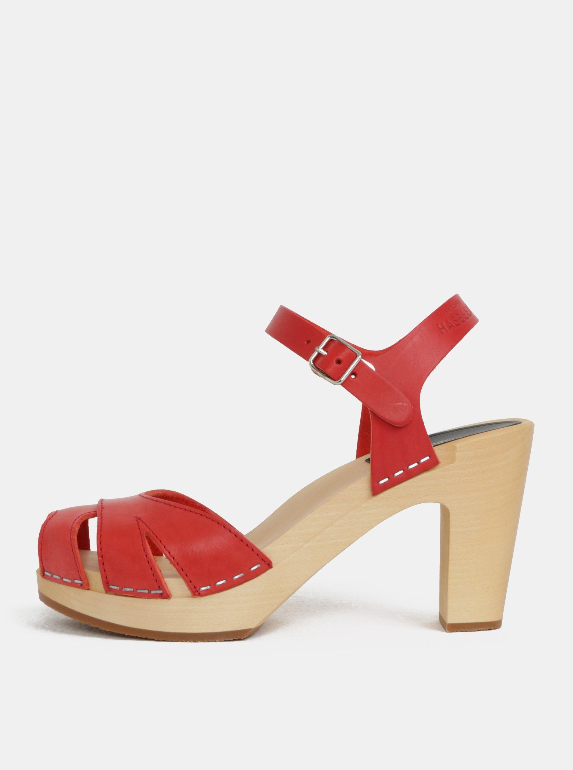 0a3c607a8898 Dřeváky na podpatku s červenými koženými pásky Swedish Hasbeens Suzanne