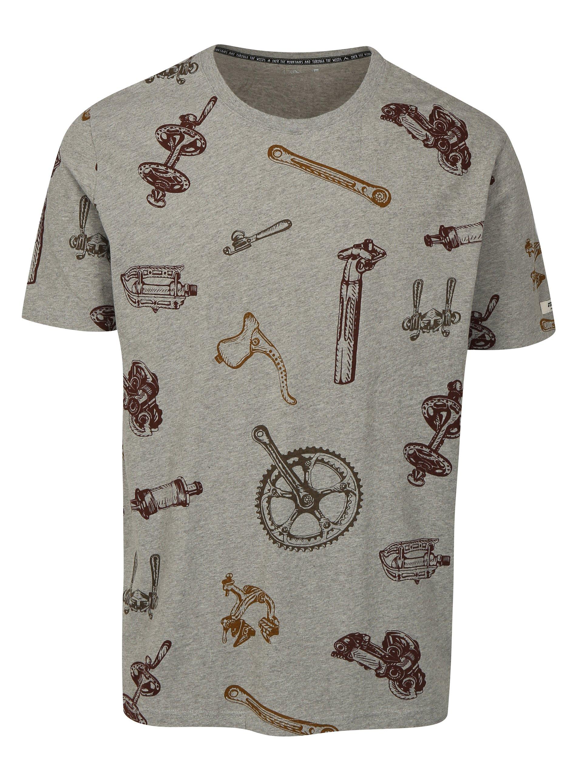 Fotografie Šedé pánské tričko s krátkým rukávem a potiskem Maloja