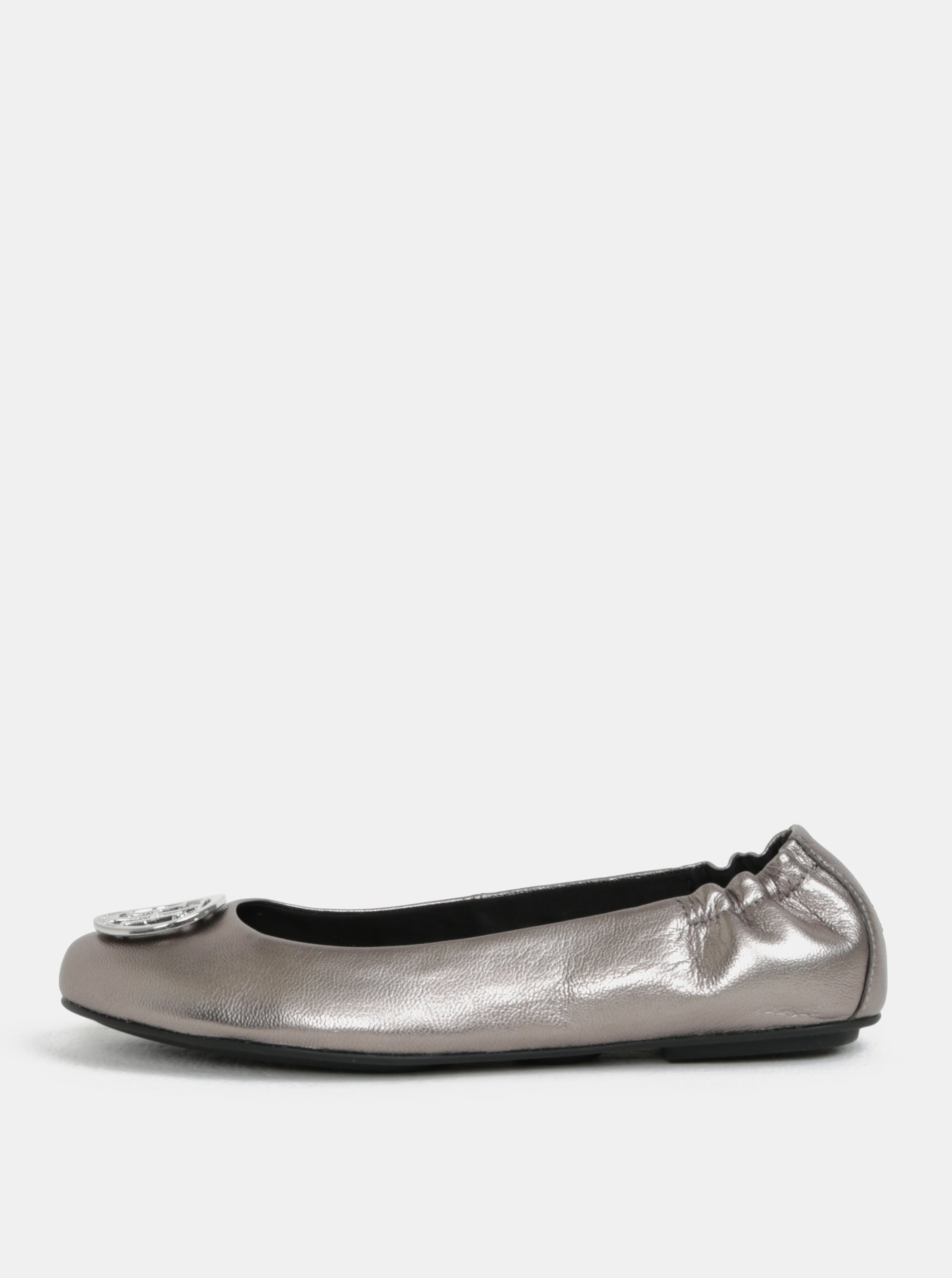 Kožené baleríny v striebornej farbe Tommy Hilfiger 02ae0830014