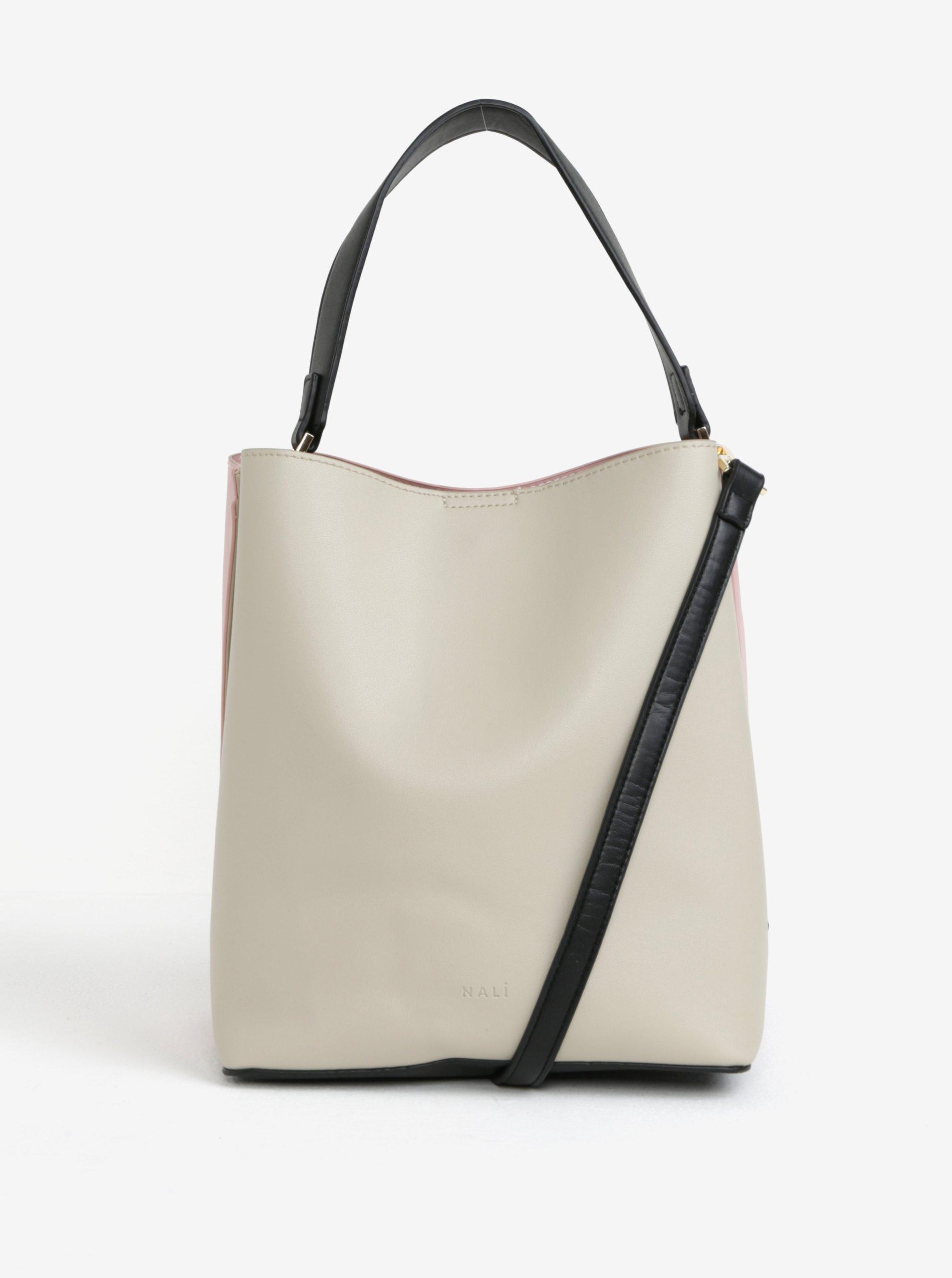 Růžovo-krémová kabelka s detaily ve zlaté barvě Nalí 1f0b48d148
