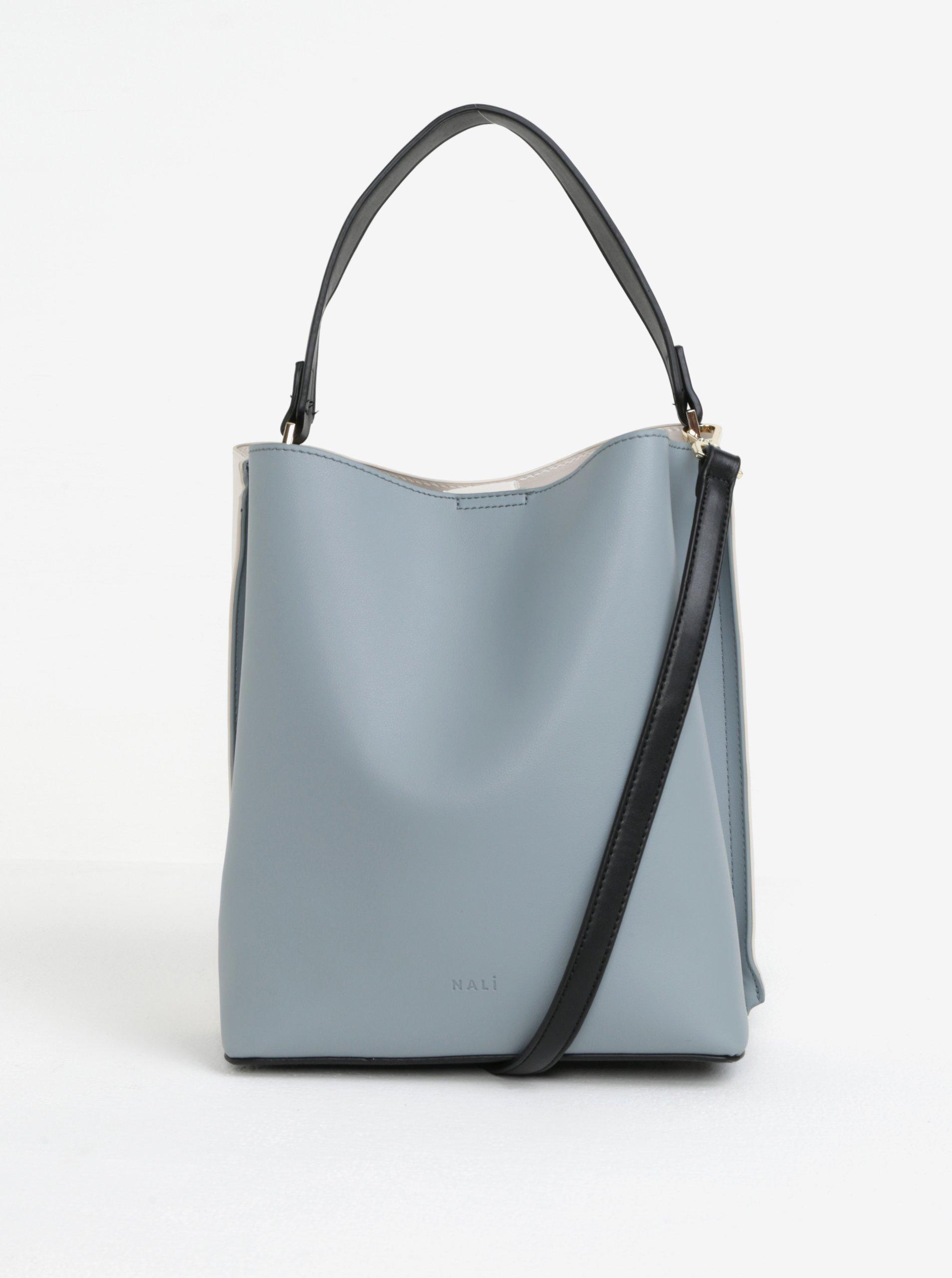 Krémovo-modrá kabelka s detaily ve zlaté barvě Nalí bb5a071cef