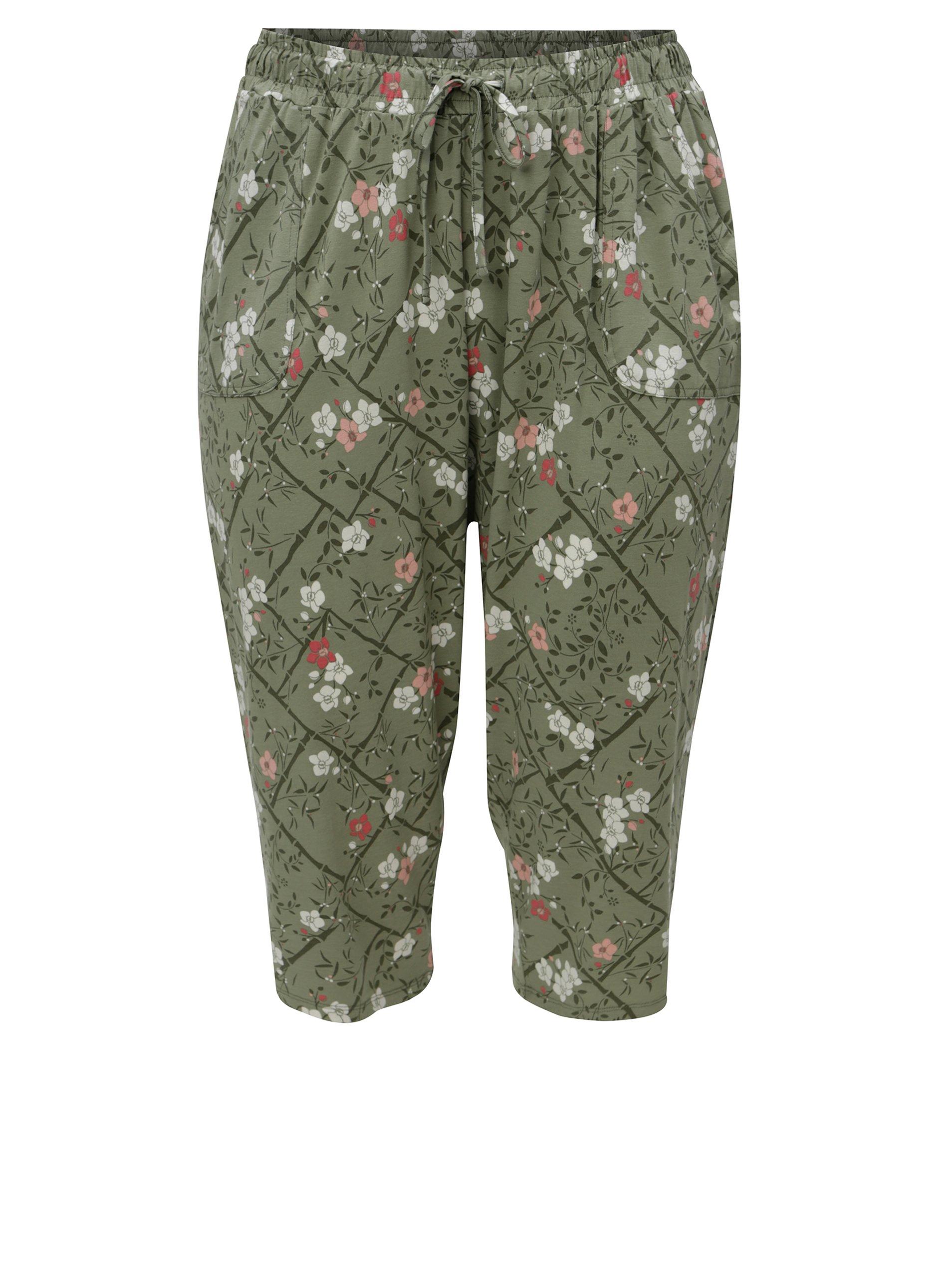 Zelené kvetované skrátené dámske nohavice s elastickým pásom M&Co