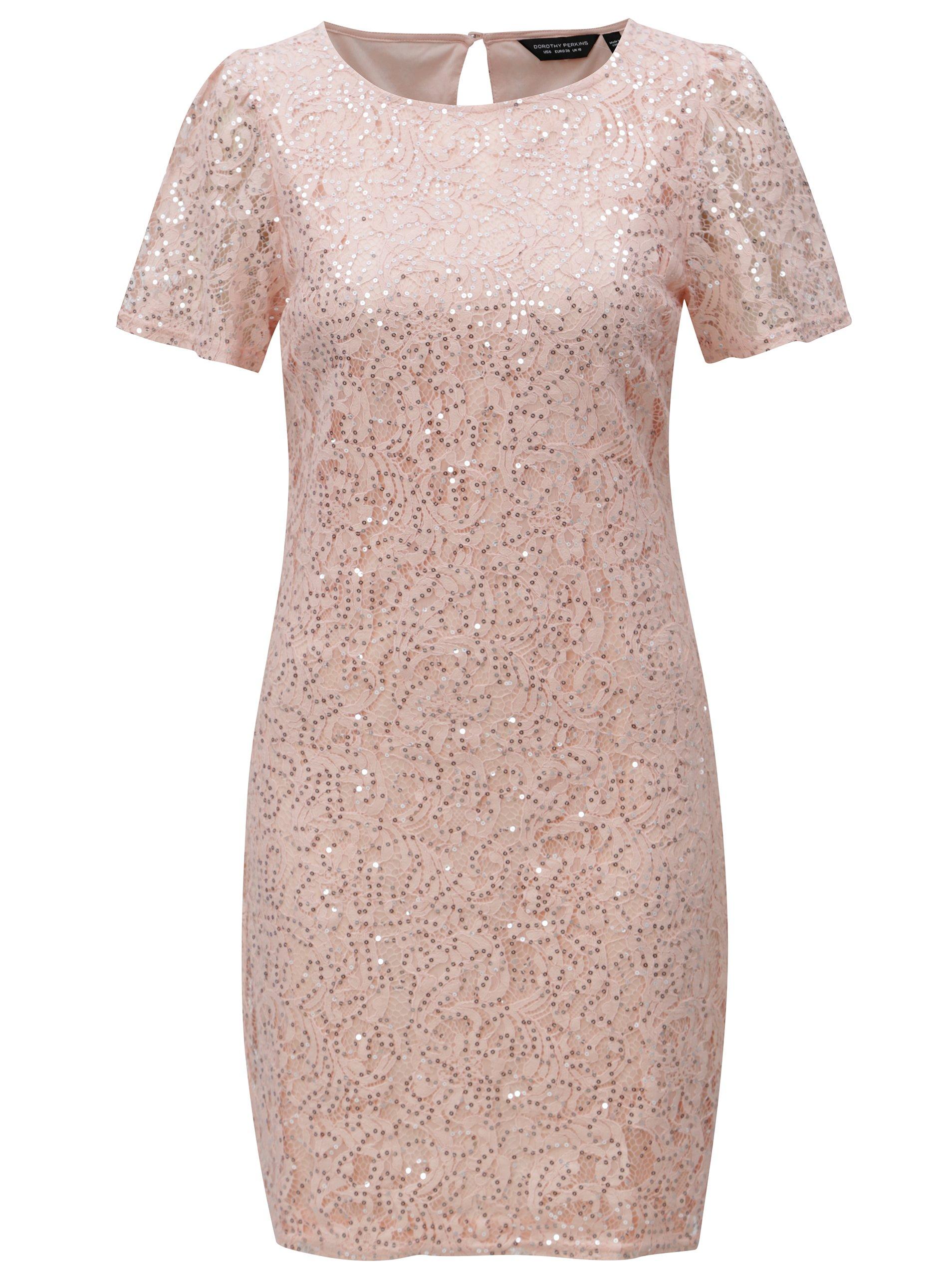 Světle růžové krajkové šaty s flitry Dorothy Perkins