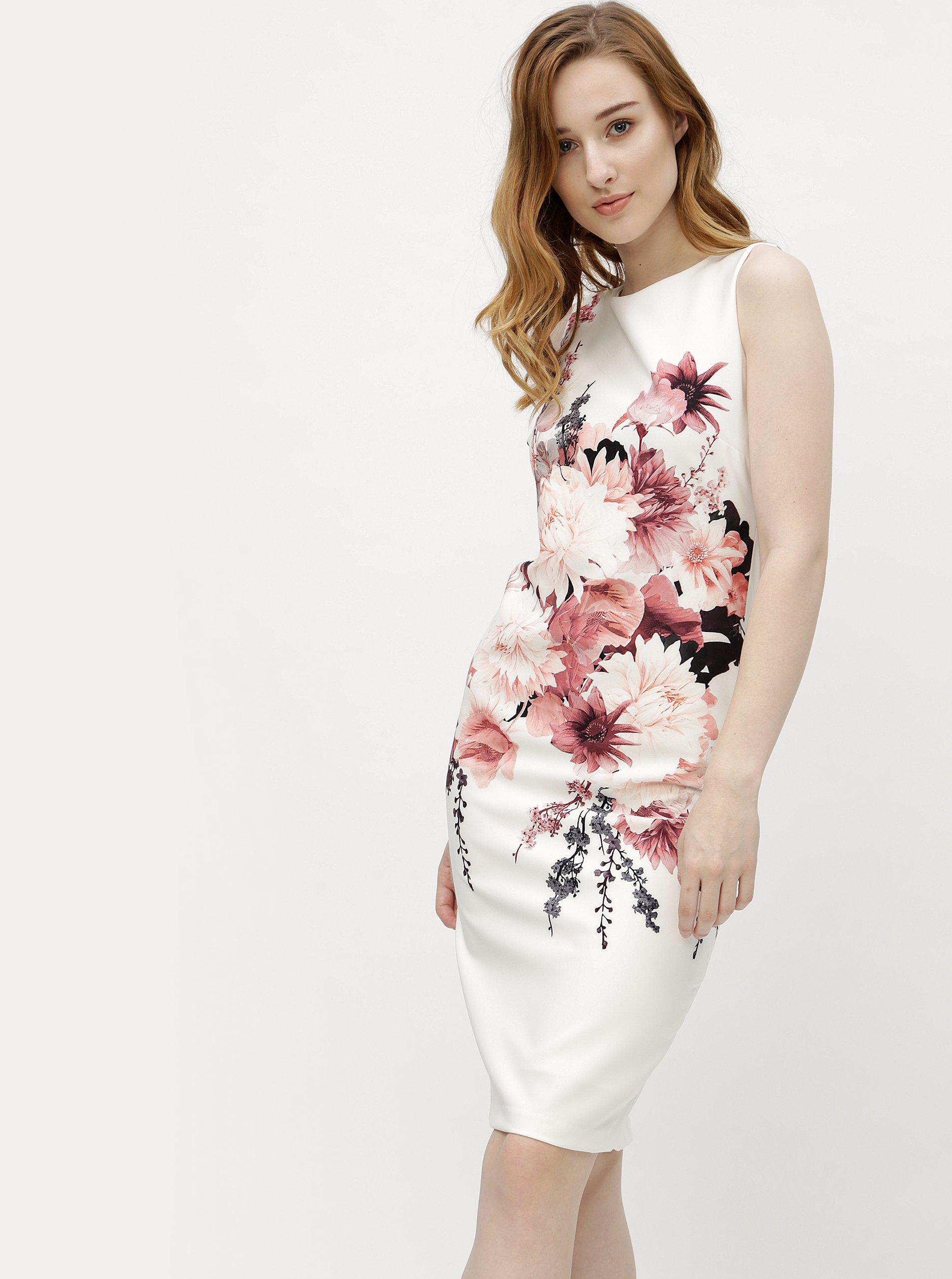 9b7456dbed06 Krémové kvetované puzdrové šaty M Co