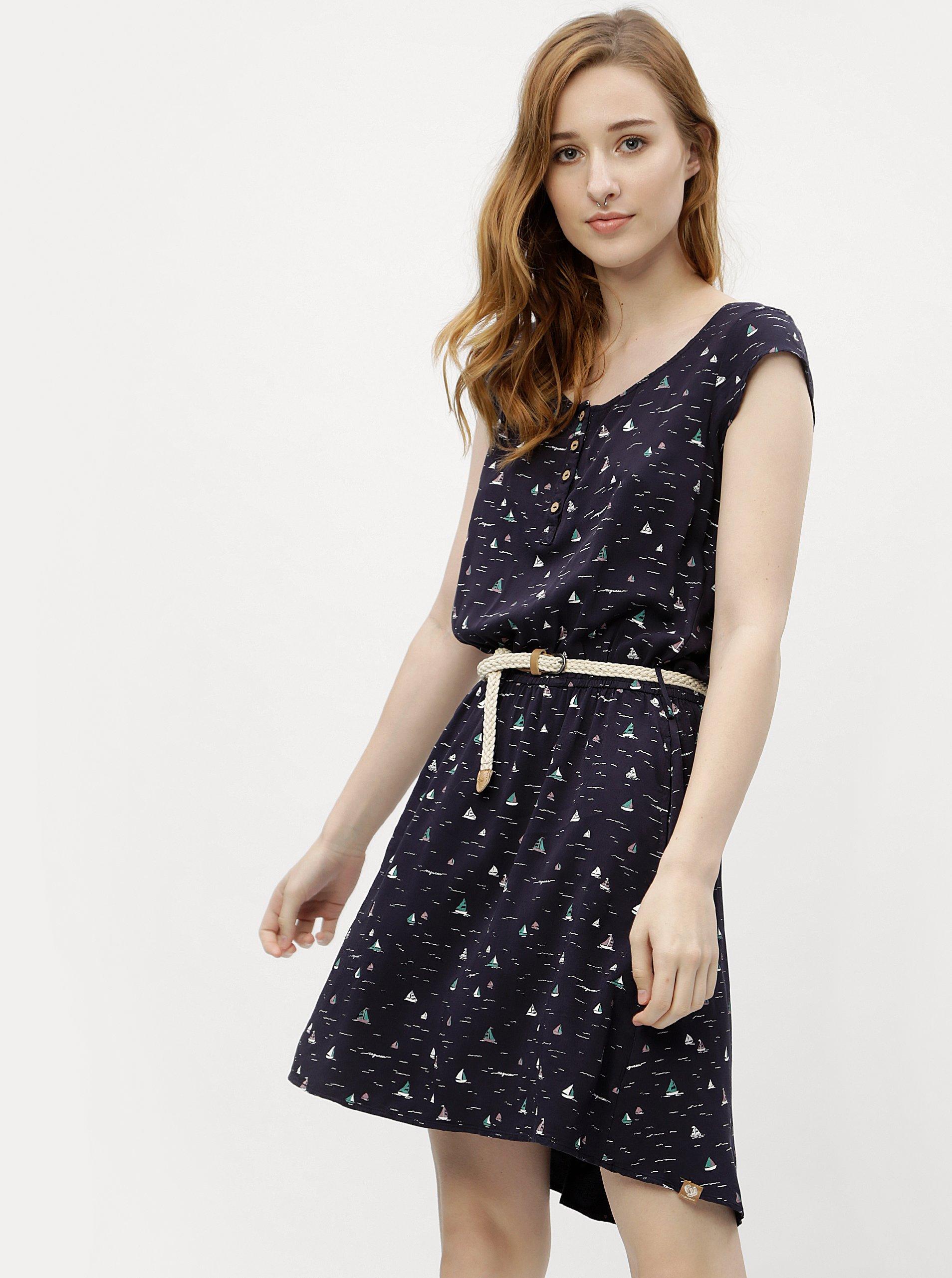 0393d76cc71e Tmavomodré dámske vzorované šaty Ragwear Zephie