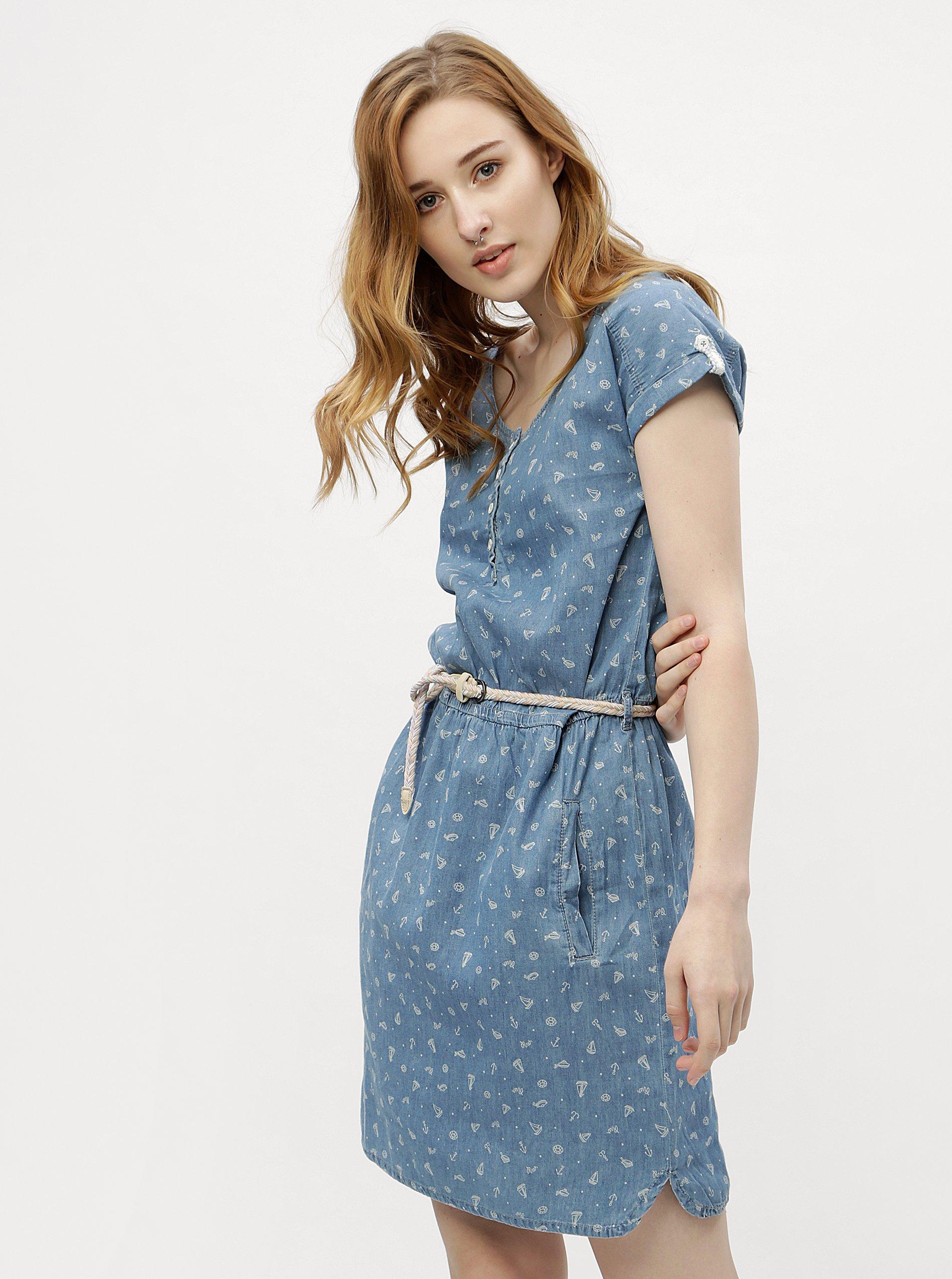 6dd1cea73496 Modré dámske vzorované šaty Ragwear Geena
