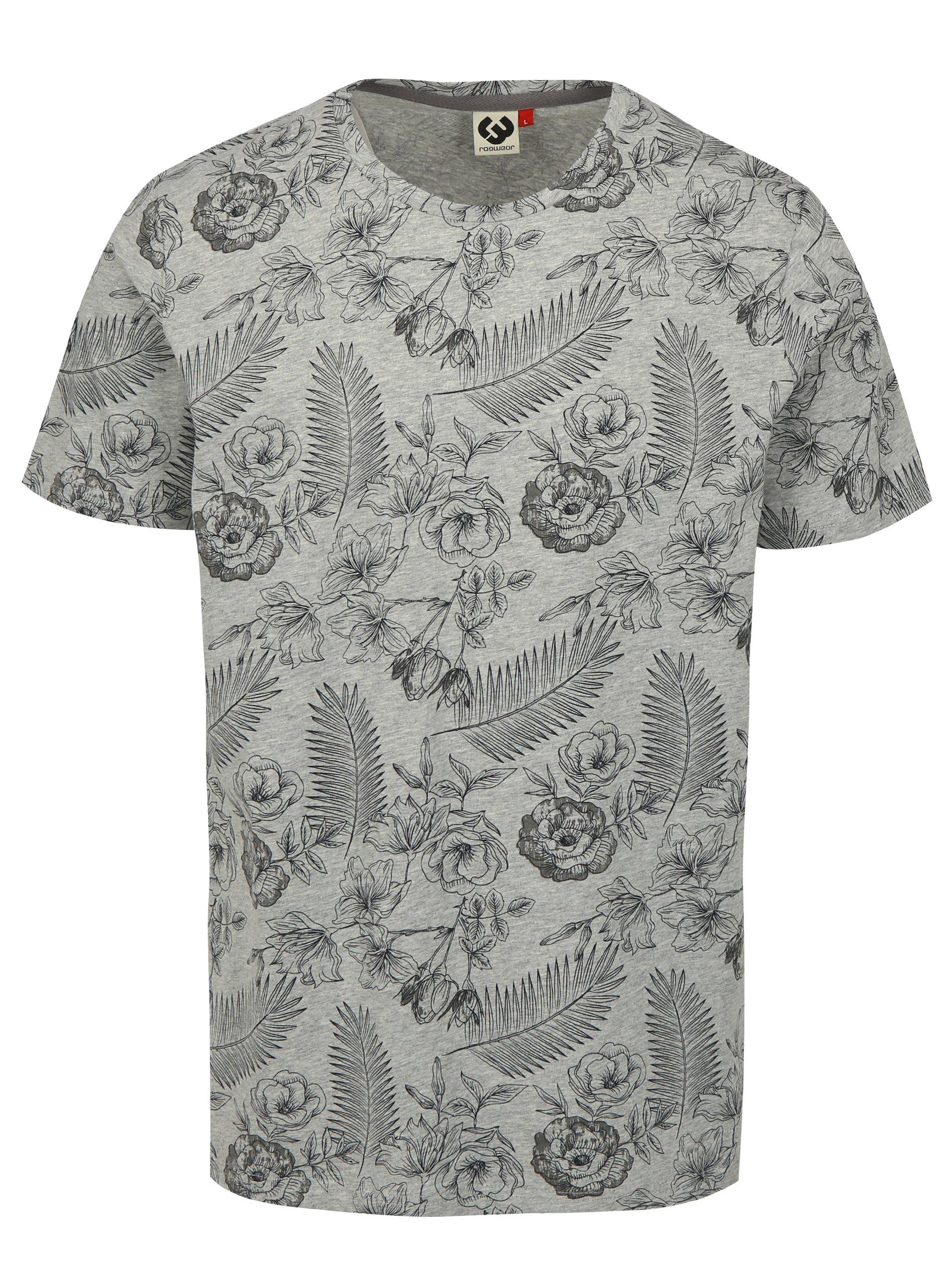 Sivé pánske kvetované tričko Ragwear Luka