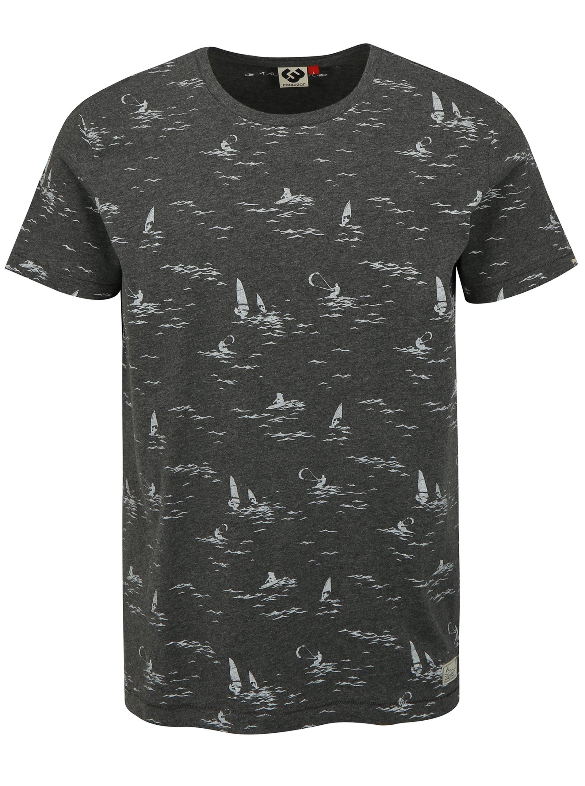 Tmavosivé pánske tričko s potlačou Ragwear Dami