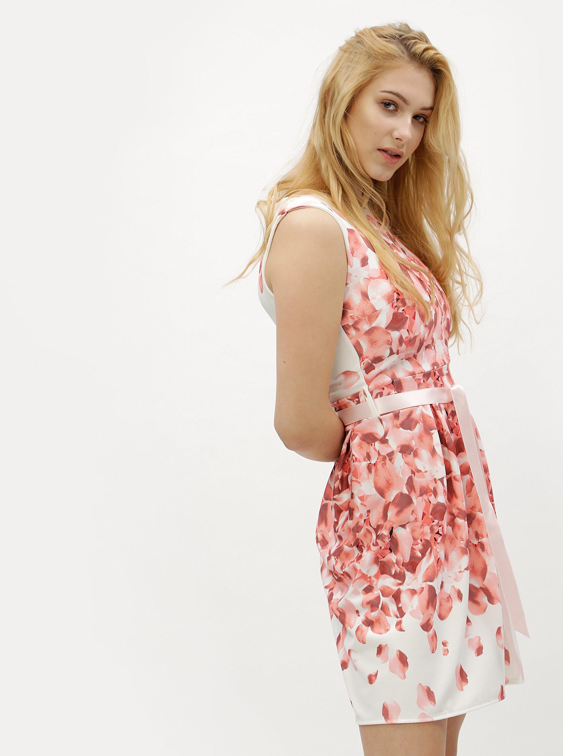 be2bb27f4dc9 Bielo-ružové kvetované šaty Haily s Rosy