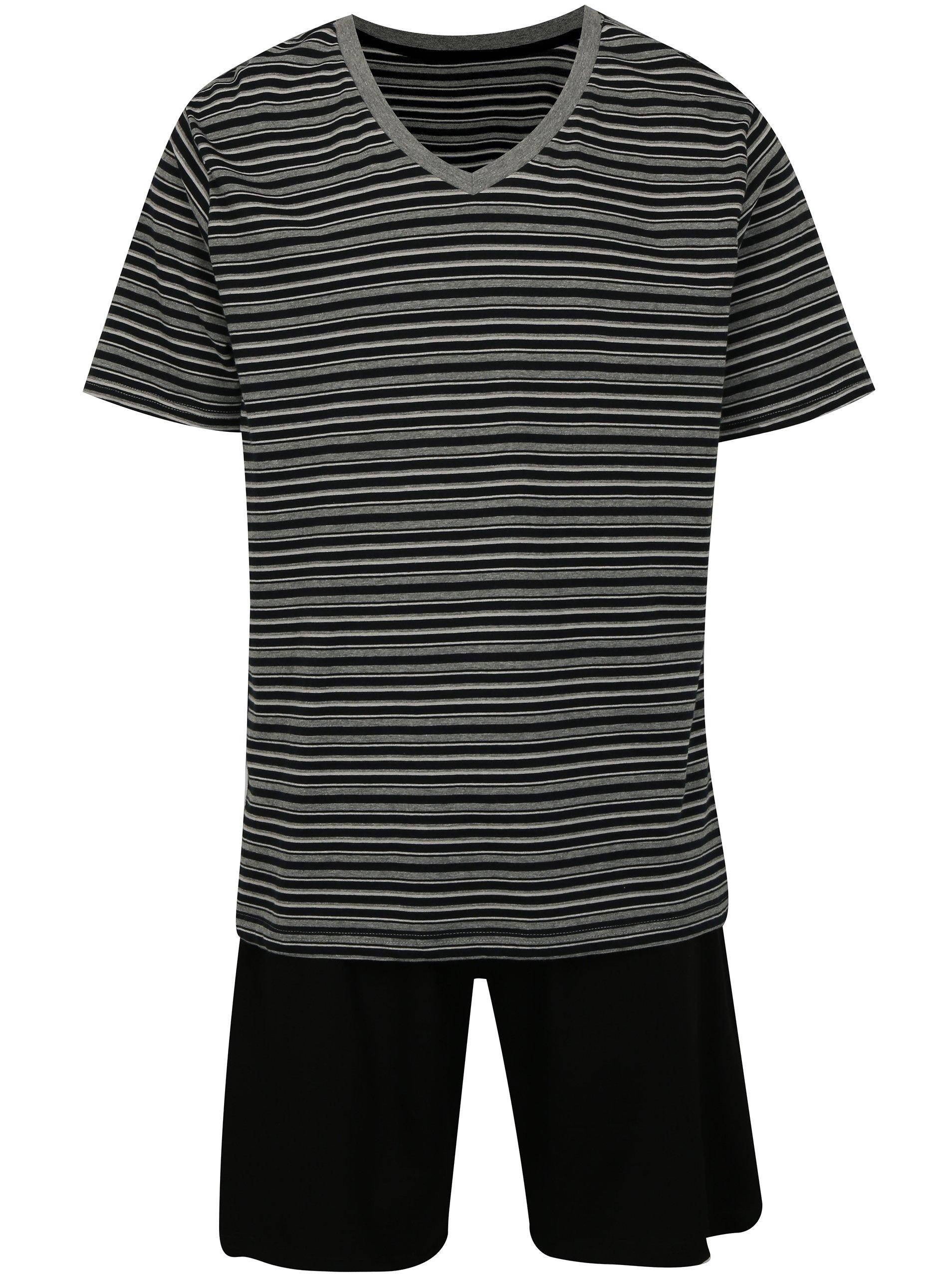 Sivo-čierne pruhované pánske pyžamo M&Co