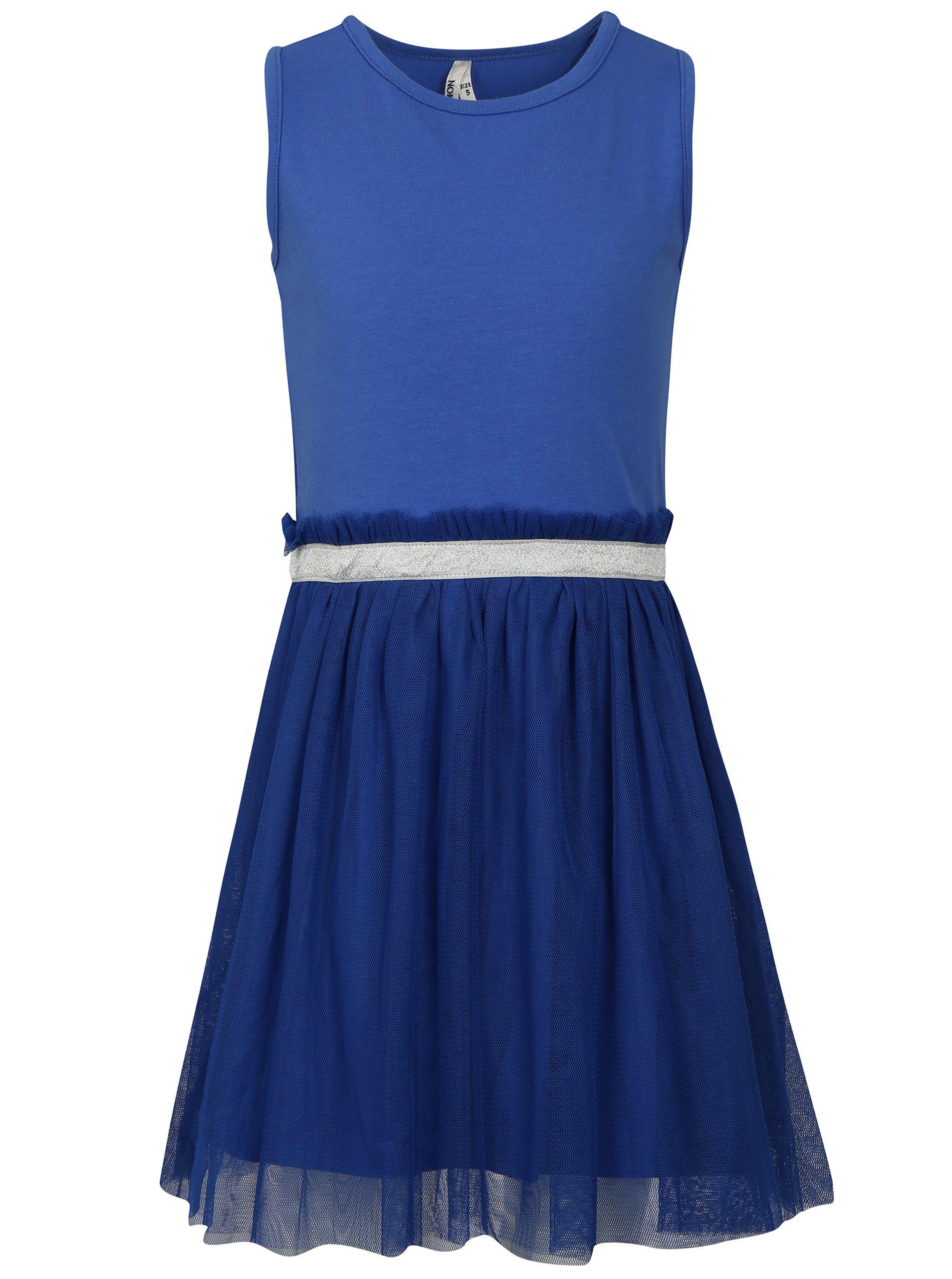 Modré dievčenské šaty s tylovou sukňou North Pole Kids