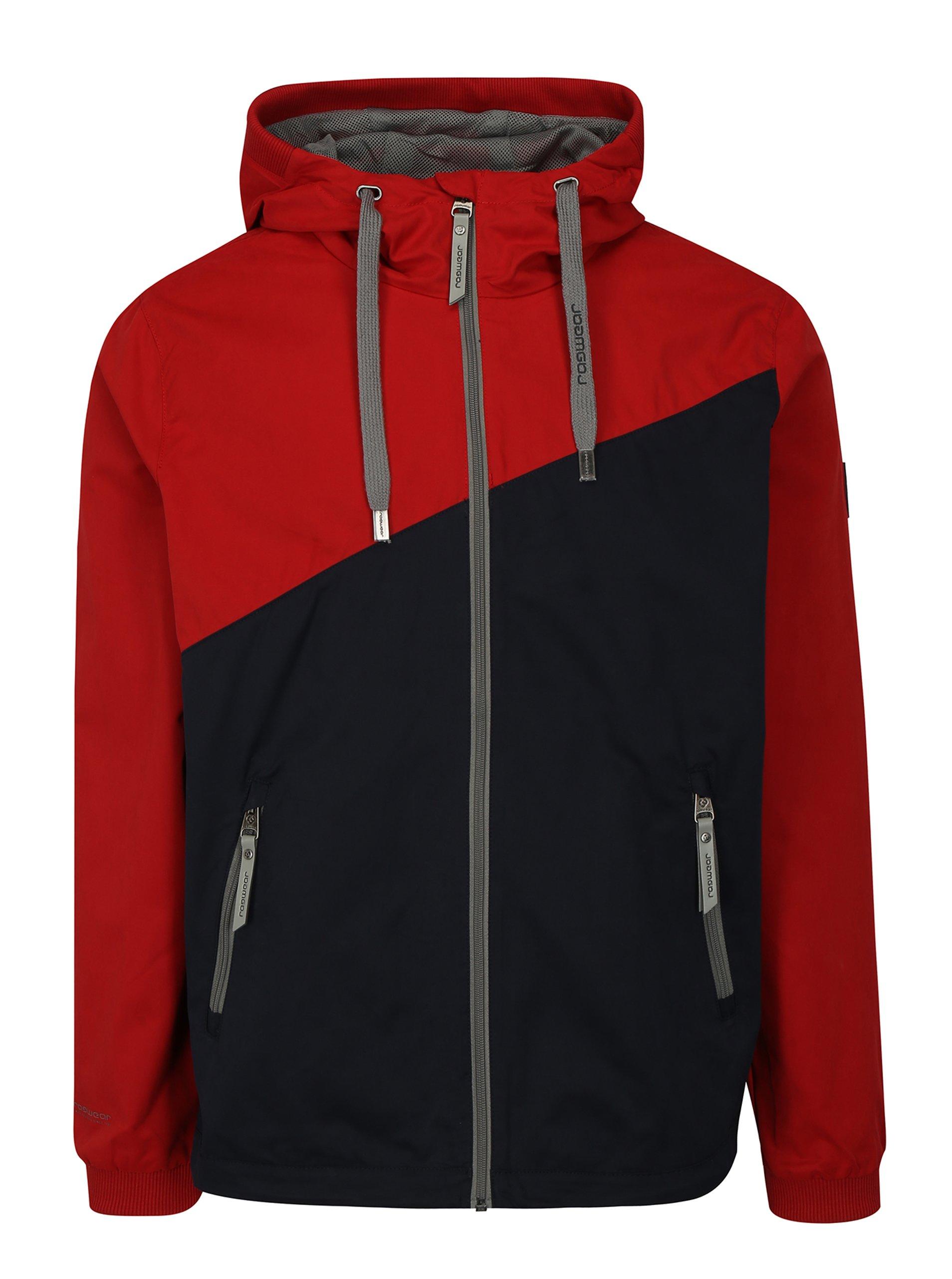 Fotografie Modro-červená pánská bunda s kapucí Ragwear Nugget