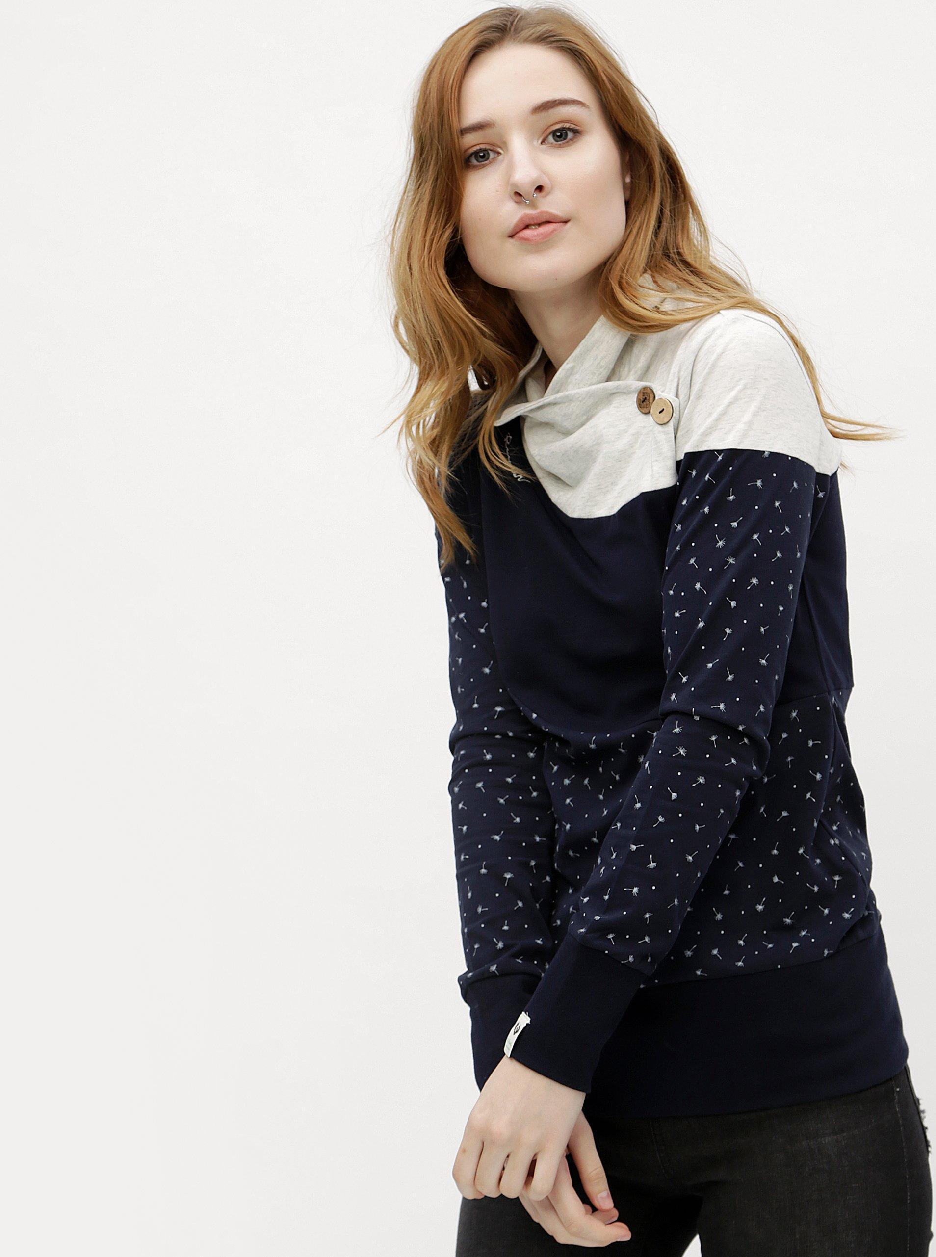 Fotografie Tmavě modré dámské tričko s dlouhým rukávem Ragwear Nest Block Organic