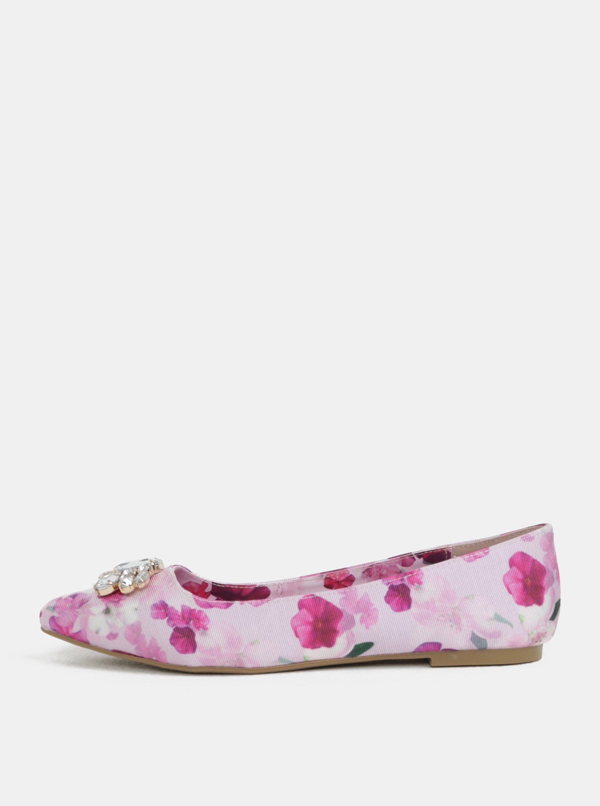 95191a6a9a89 Růžové květované baleríny s aplikací Dorothy Perkins