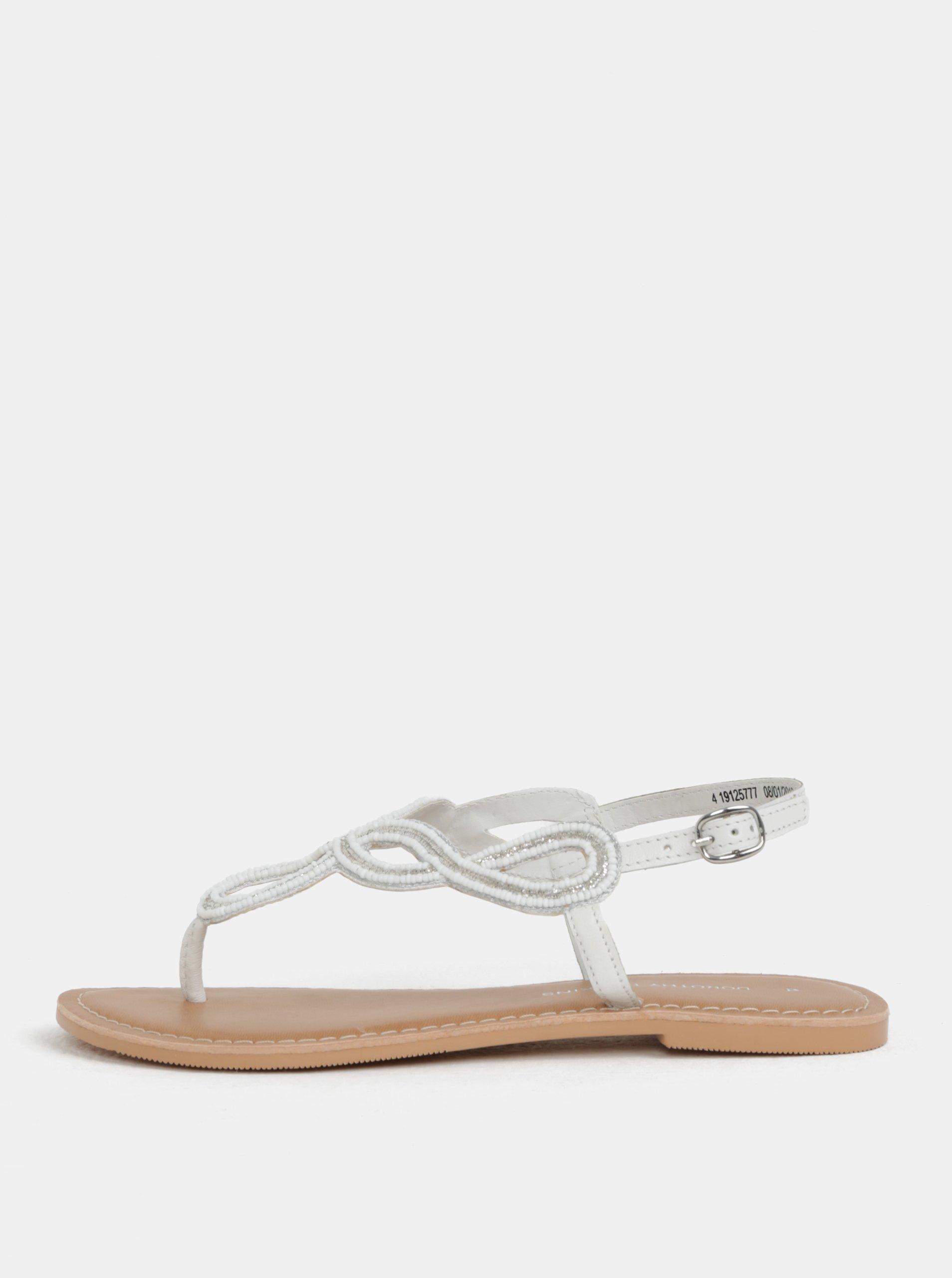 Bílé kožené sandály s ozdobnými korálky Dorothy Perkins