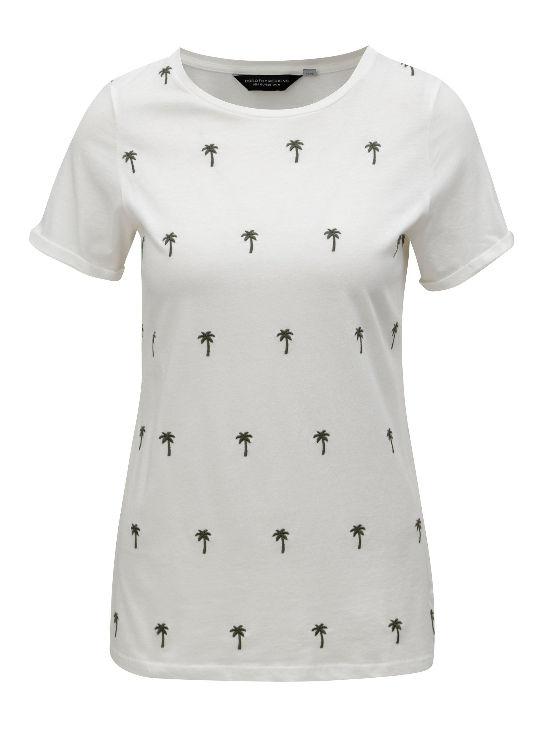 07bc2e3600 Krémové tričko s výšivkou paliem Dorothy Perkins