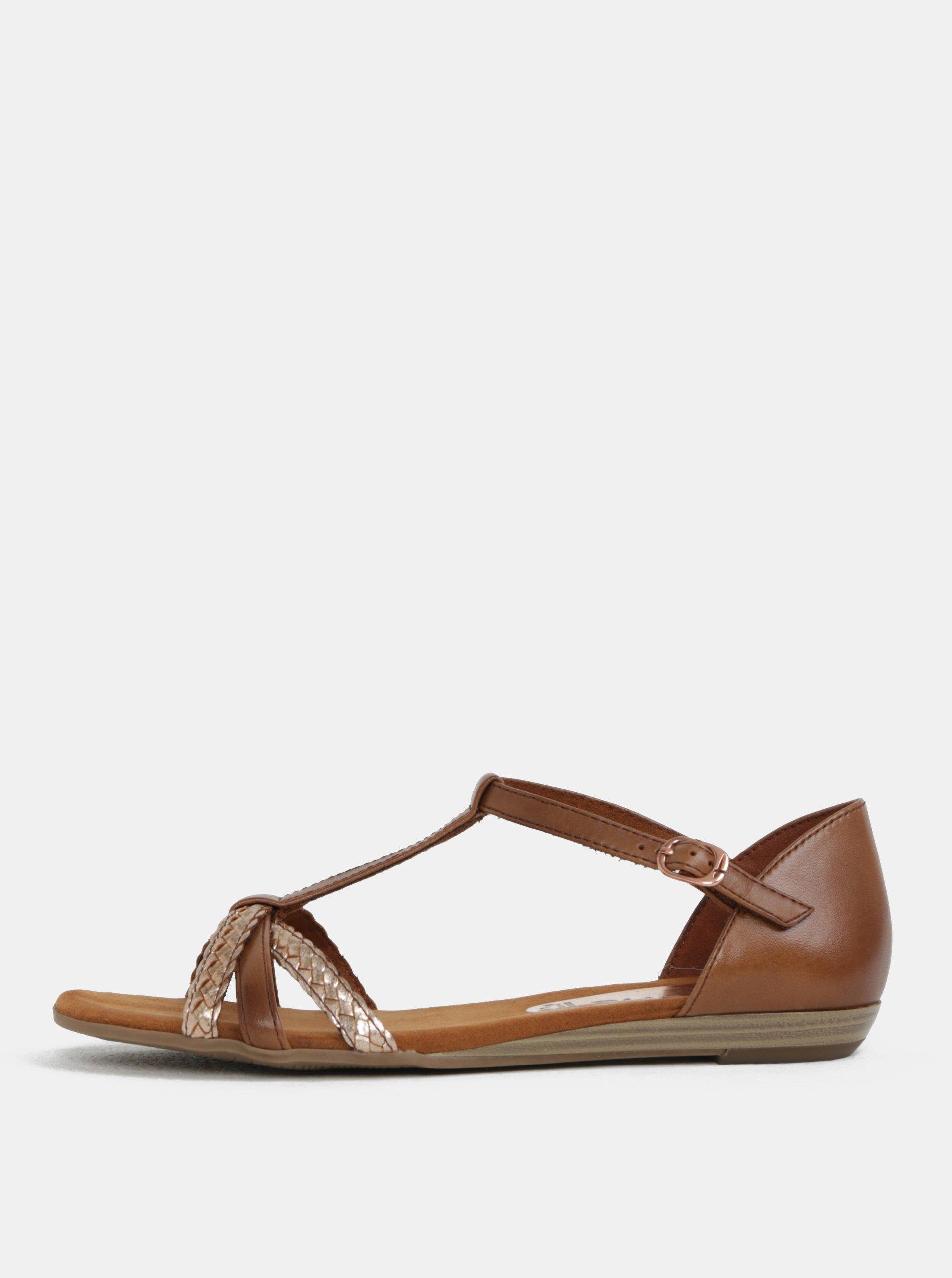 Hnědé kožené sandály Tamaris c044376393