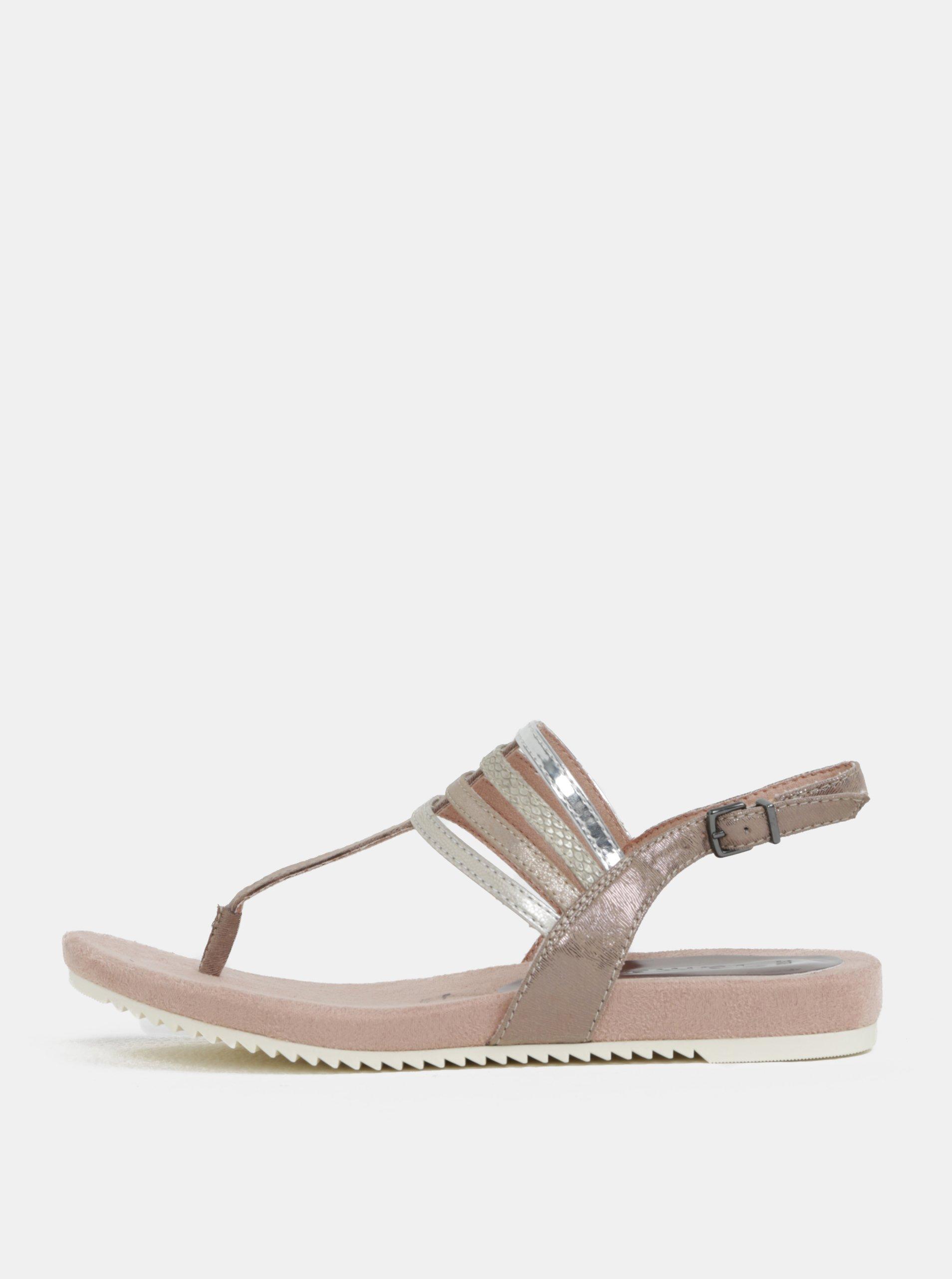 Béžovo-růžové sandály Tamaris