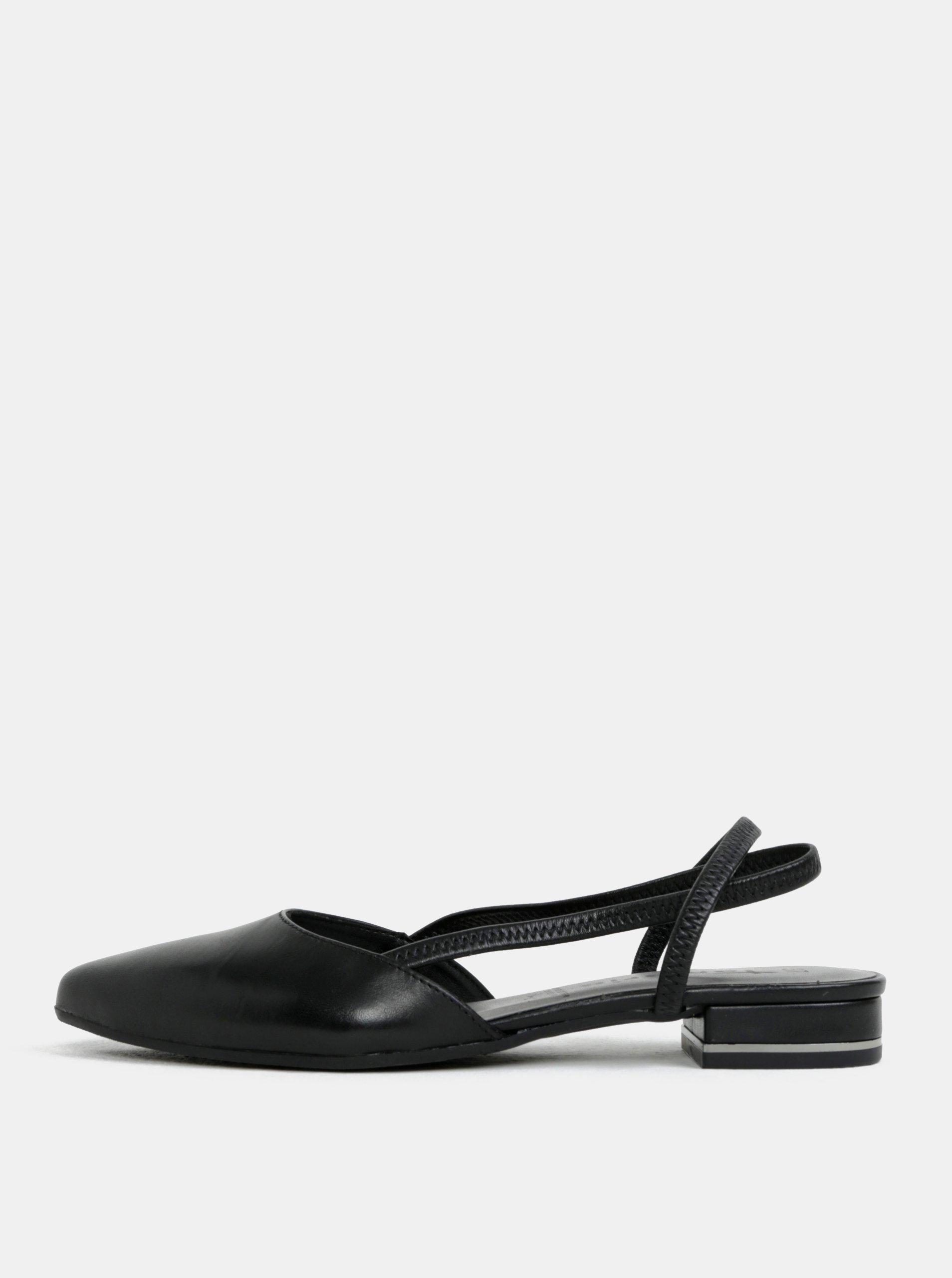 Čierne kožené sandále s plnou špičkou Tamaris 6fefcd36ac1