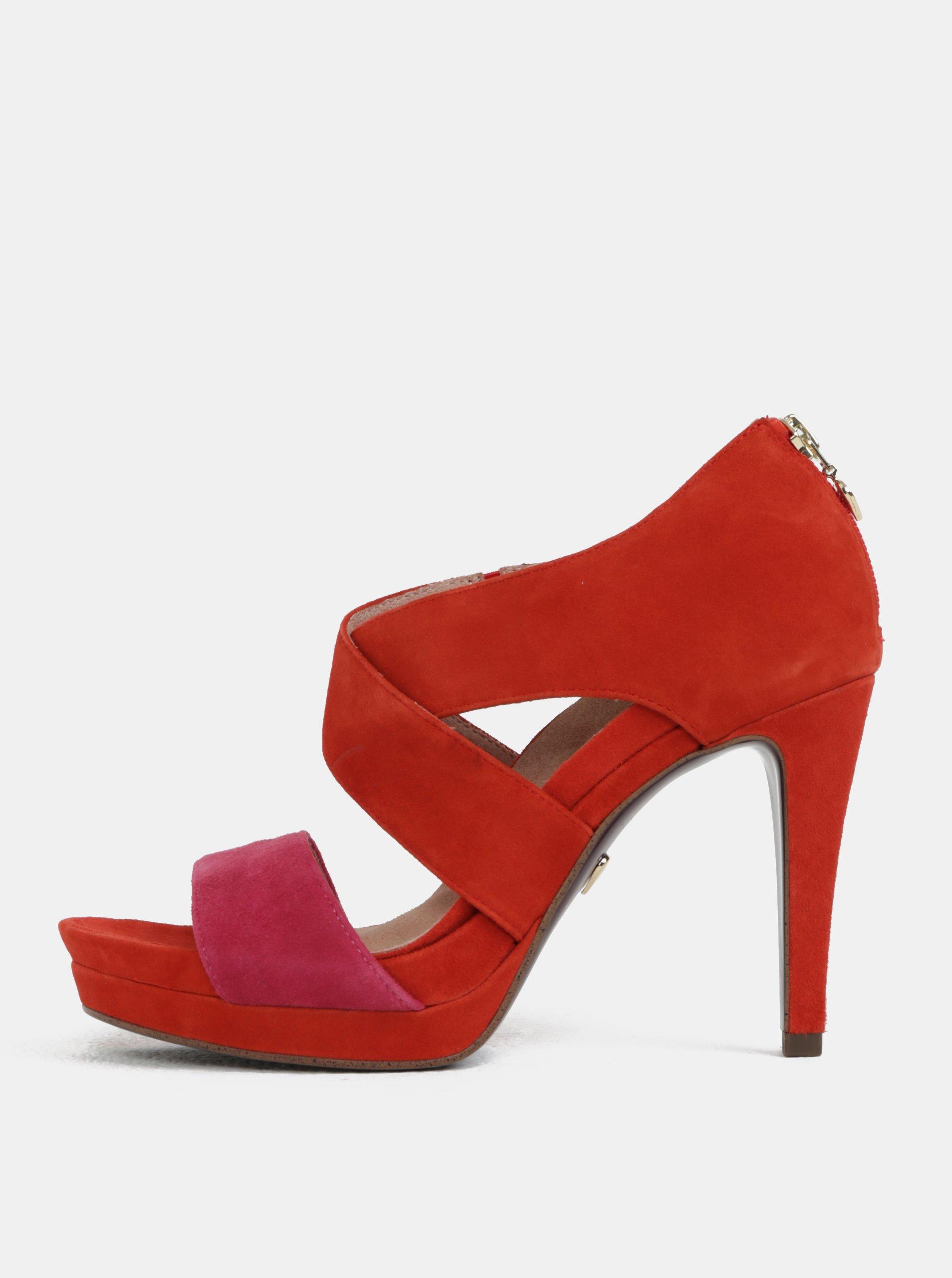 Červené semišové sandále Tamaris 204e615522