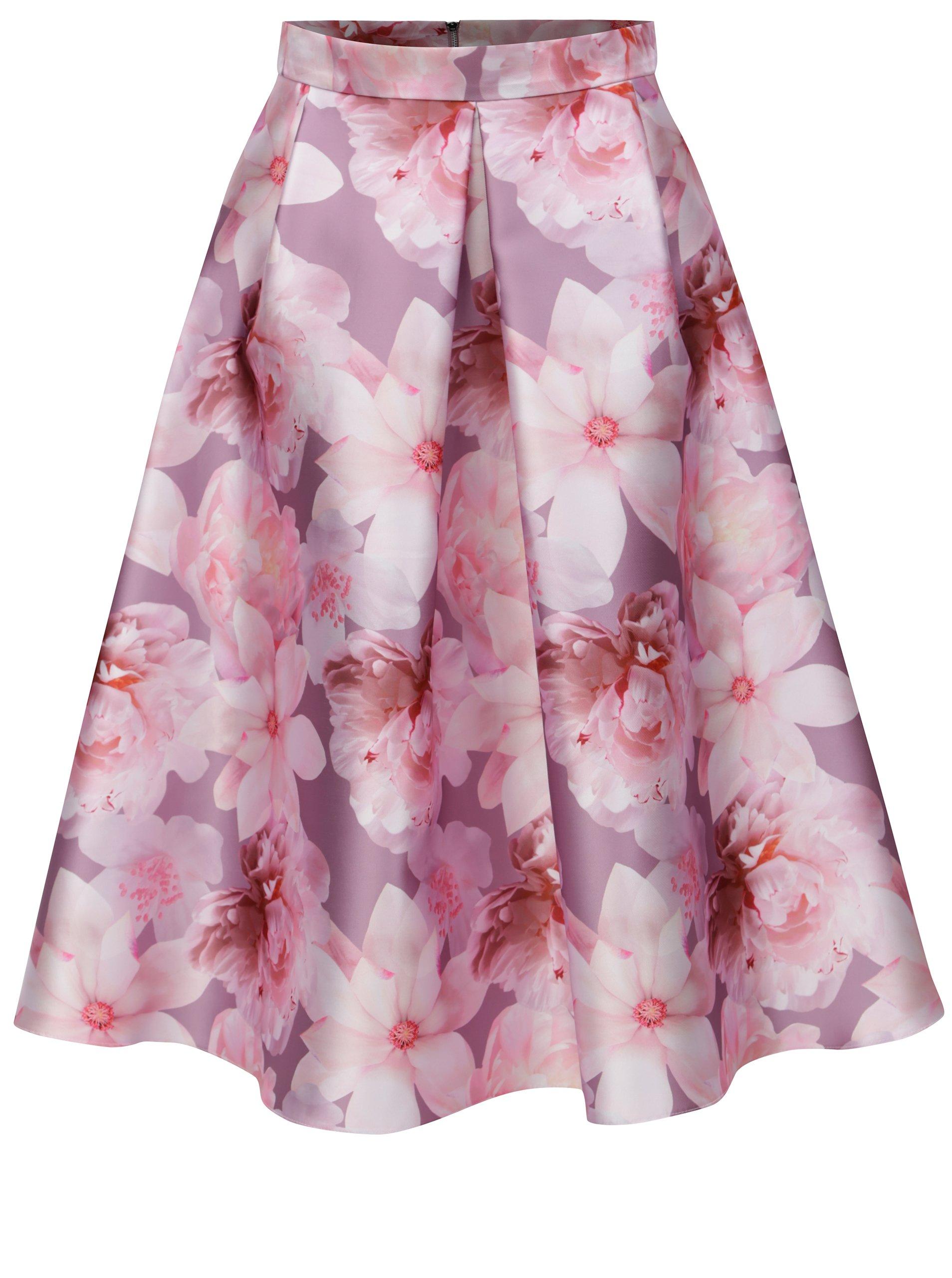 Růžová květovaná skládaná midi sukn? Dorothy Perkins