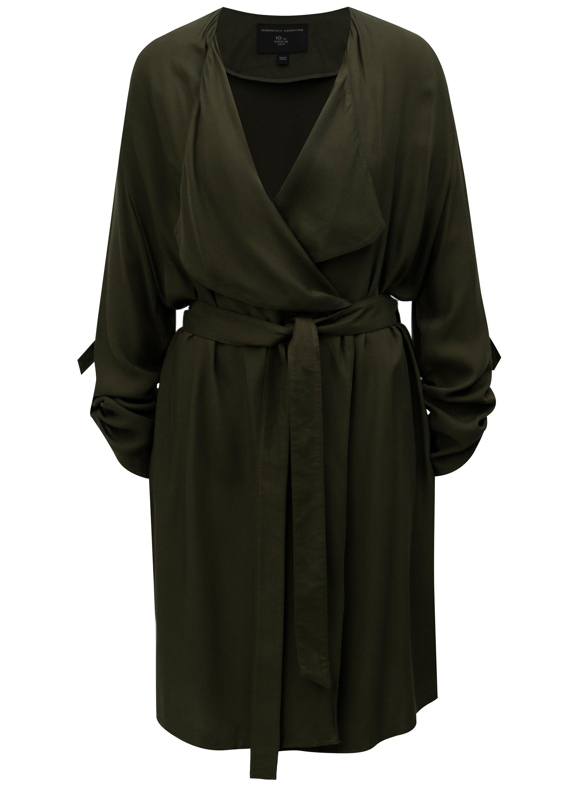 Khaki lehký kabát s 3 4 rukávy Dorothy Perkins b3718e814bd