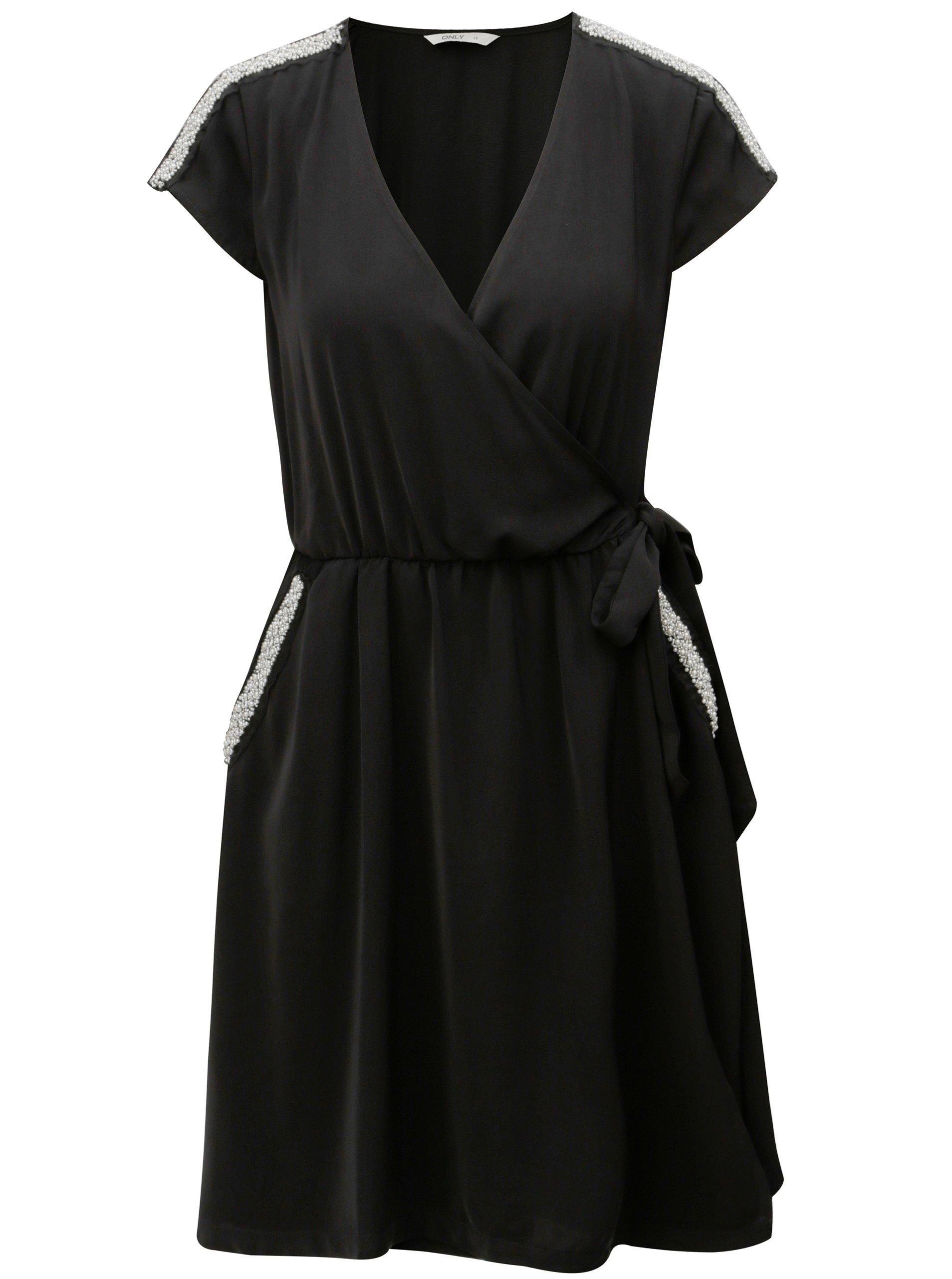 30834075dad3 Černé zavinovací šaty s ozdobnou aplikací ONLY Scarlett