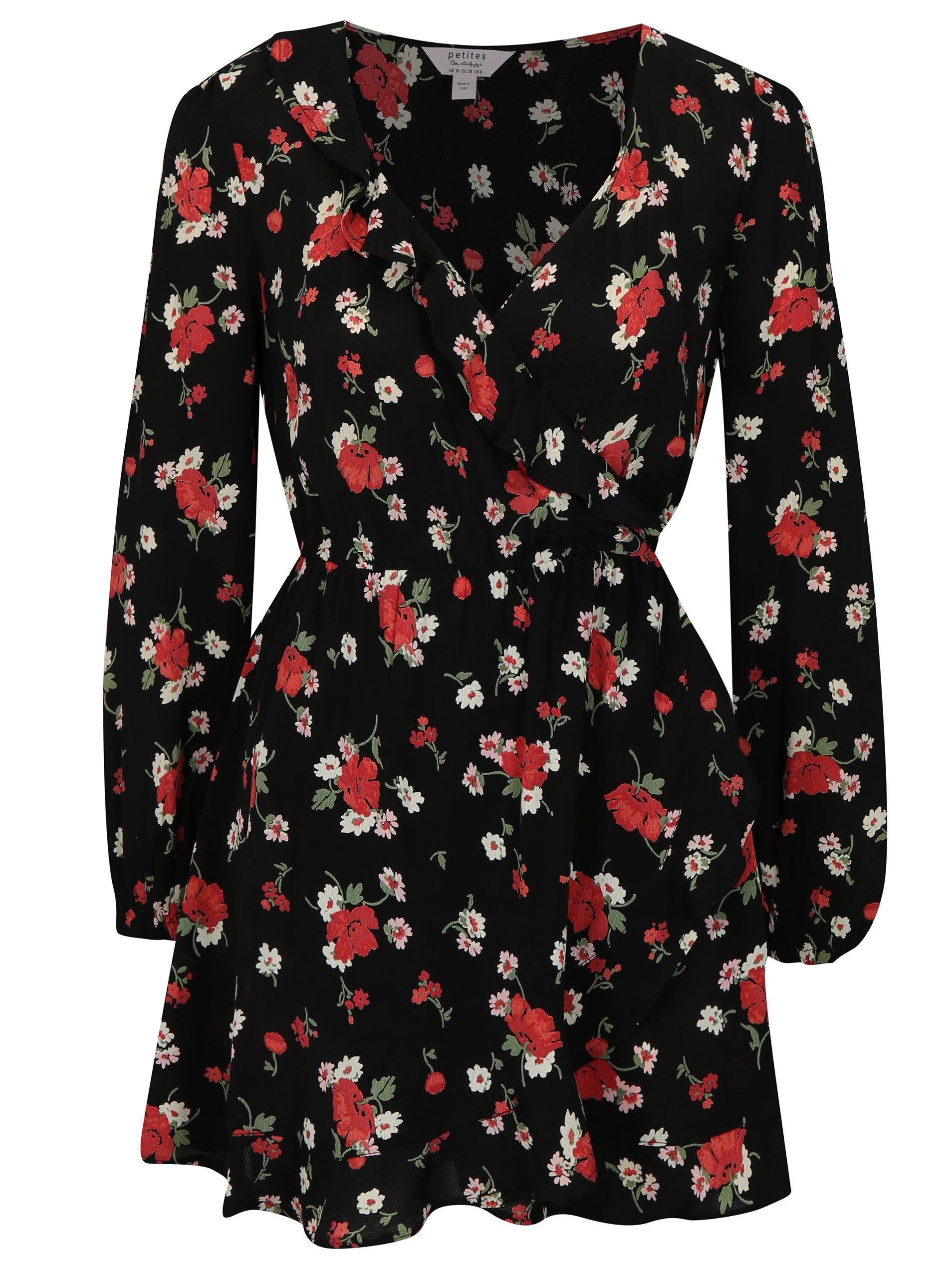 Čierne kvetované šaty s prekladaným výstrihom Miss Selfridge Petites