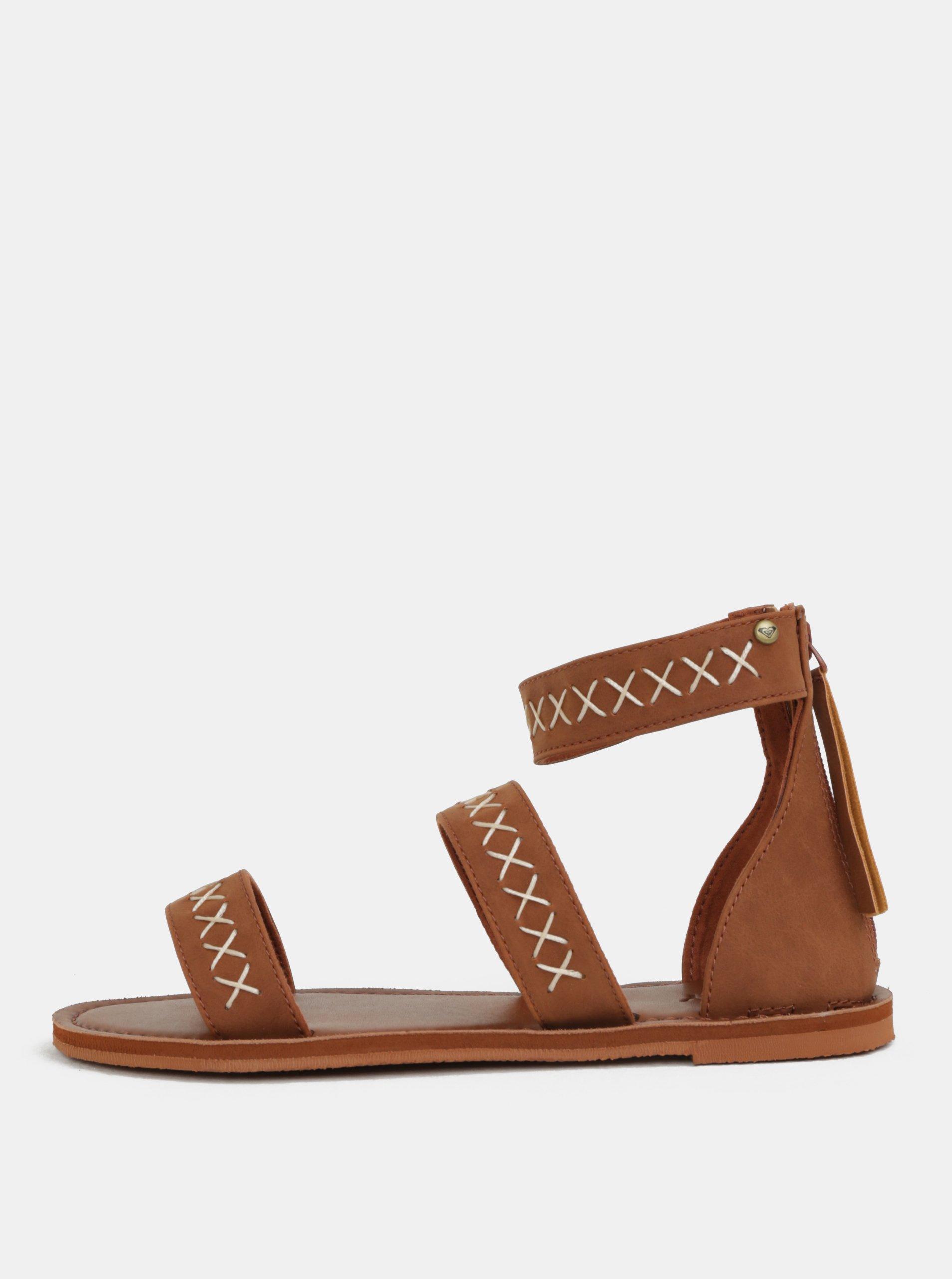 Hnědé dámské sandály s prošívaným vzorem Roxy Natalie