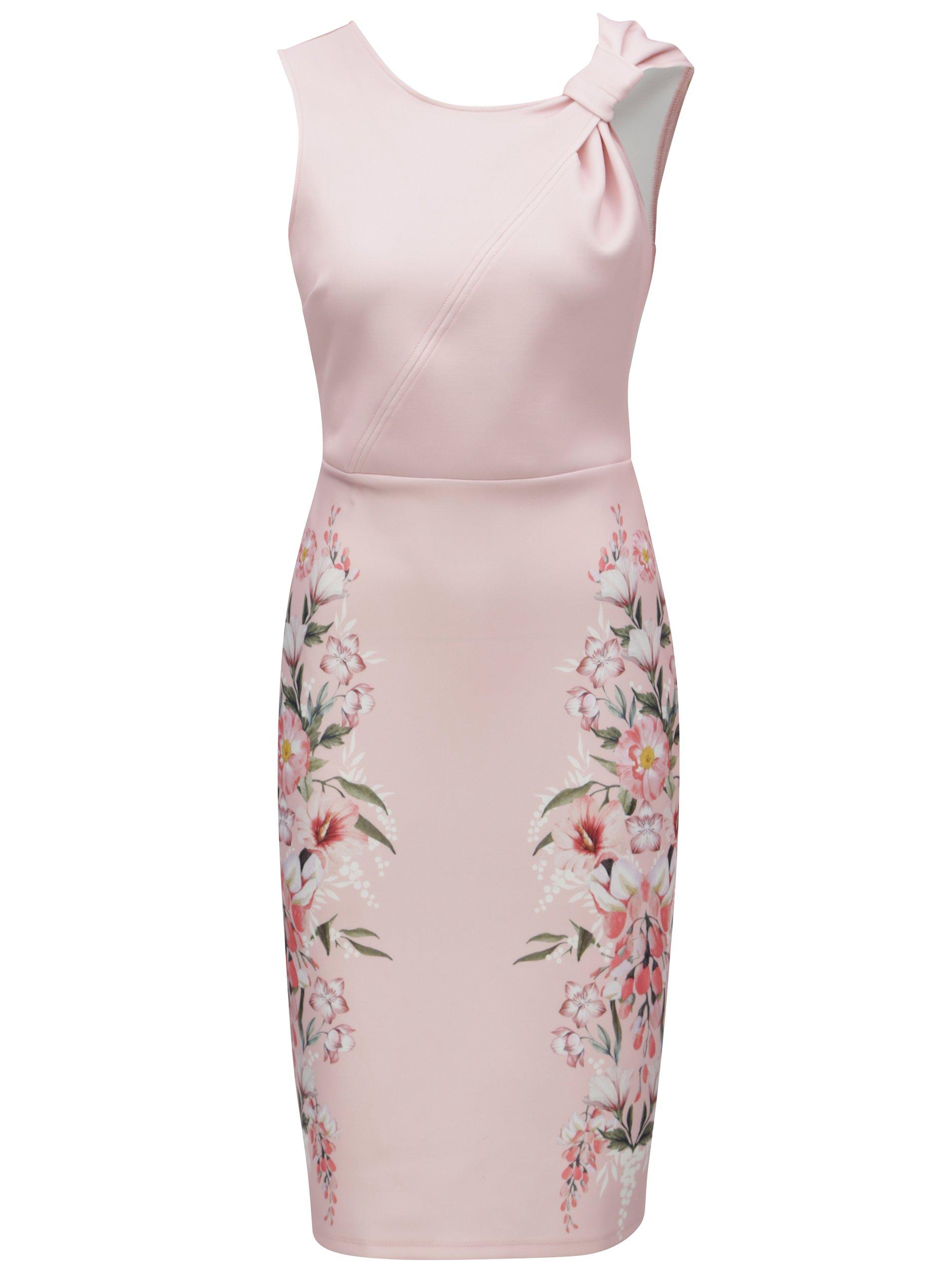 Světle růžové pouzdrové květované šaty Dorothy Perkins