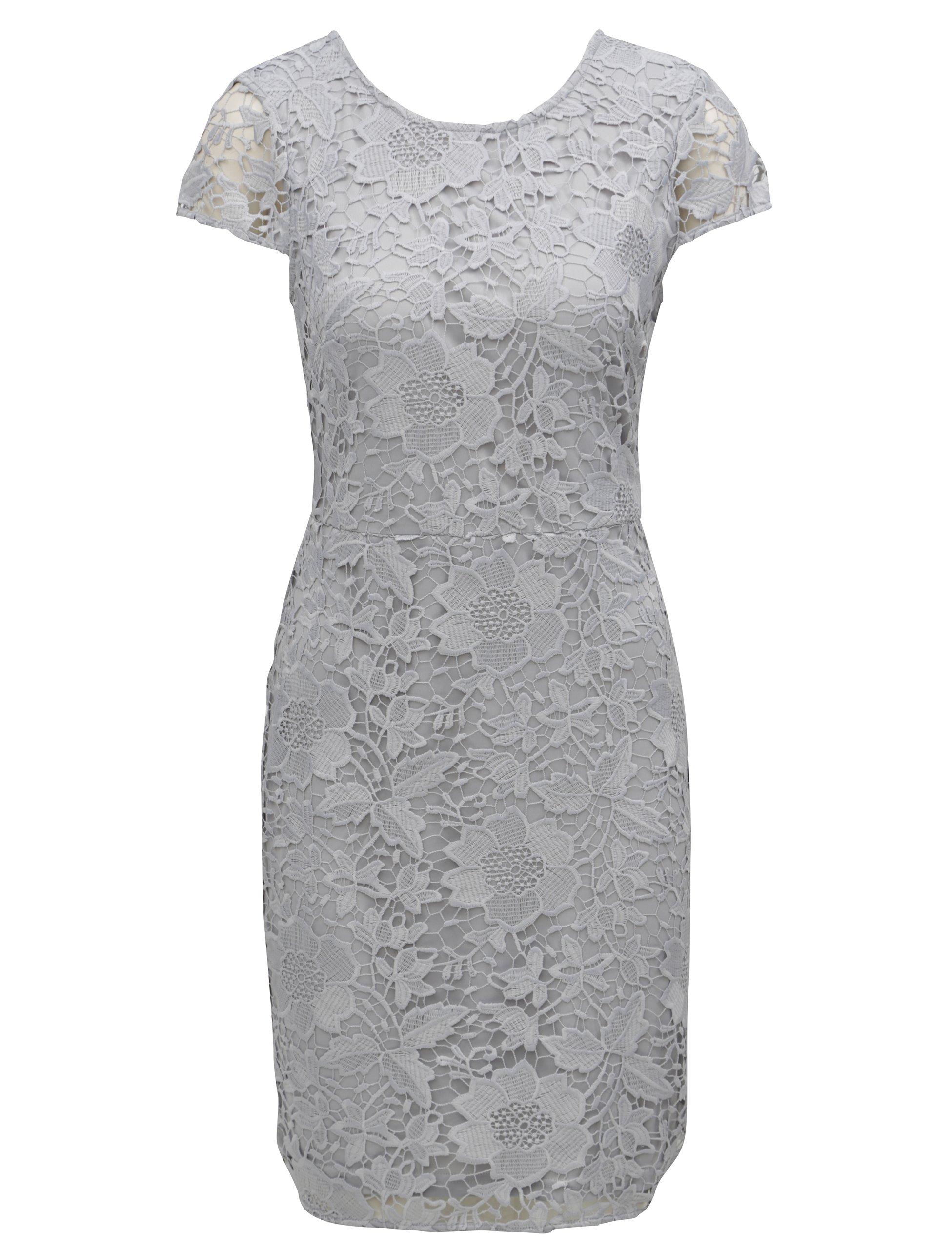 Sivé čipkované puzdrové šaty Dorothy Perkins c53d026d8b4
