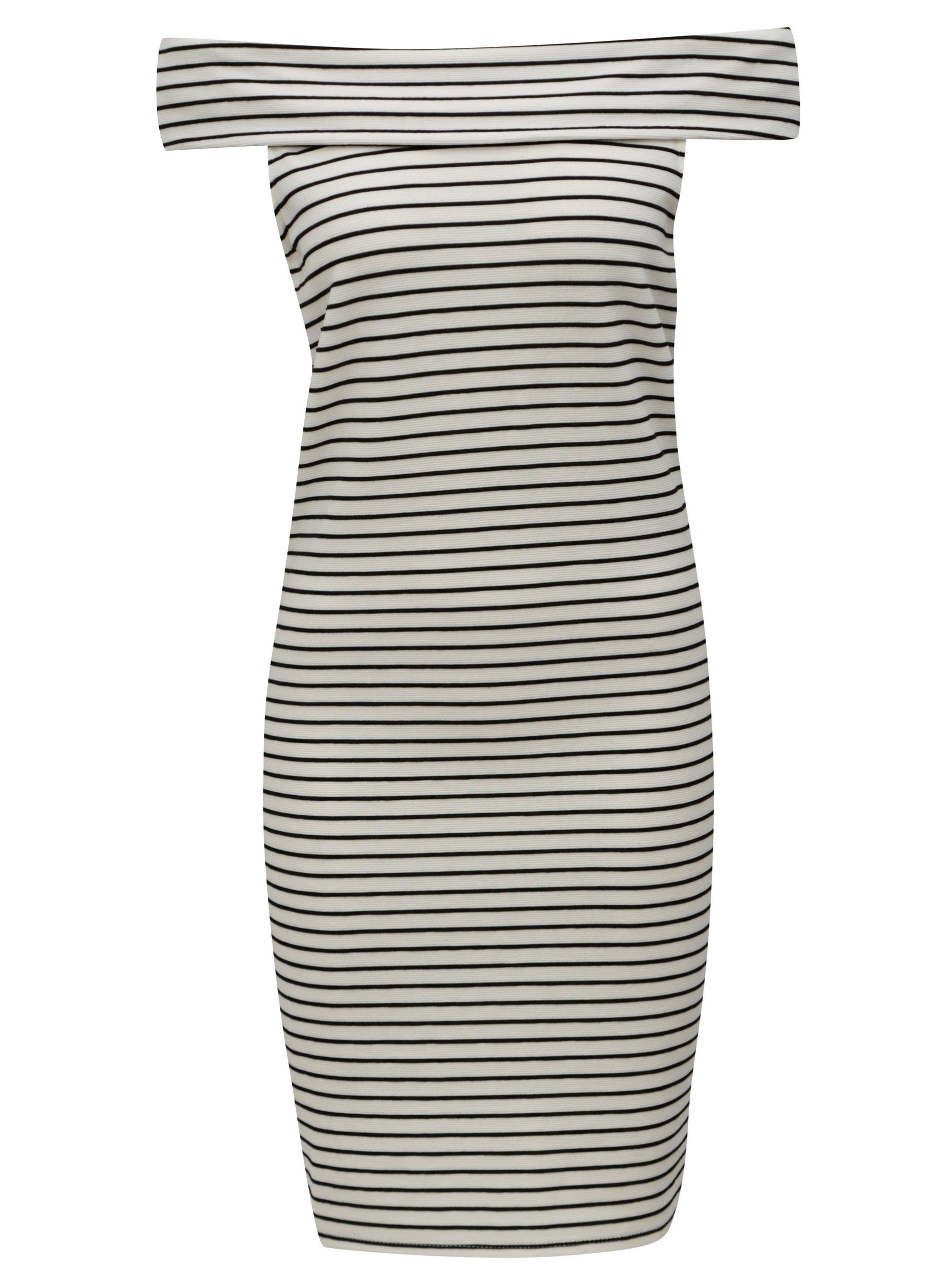 75e8e960d248 Černo-krémové pruhované šaty s odhalenými rameny VILA Cone