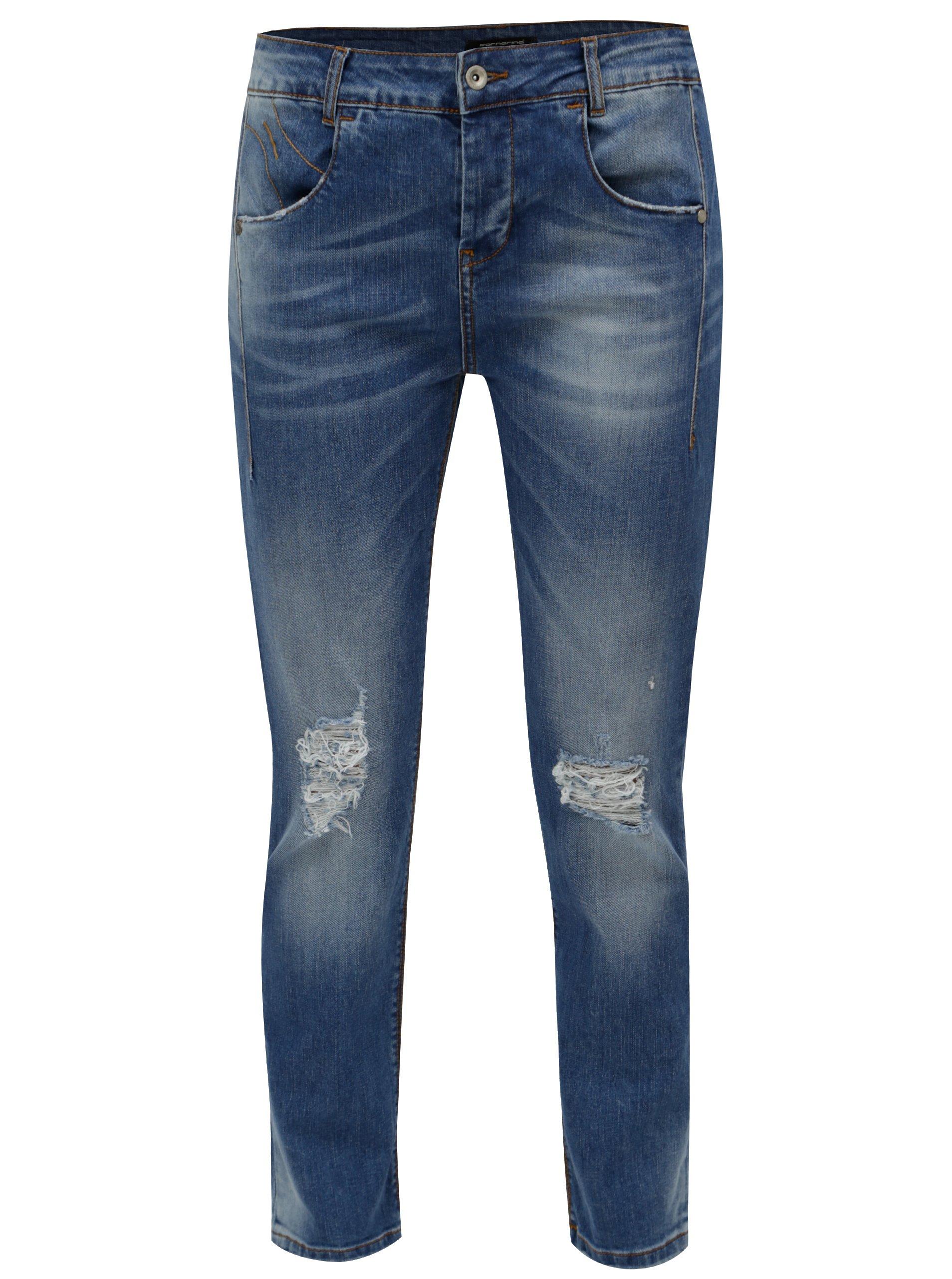 Modré zkrácené slim džíny s potrhaným efektem Fornarina Sampey 178422b3e0