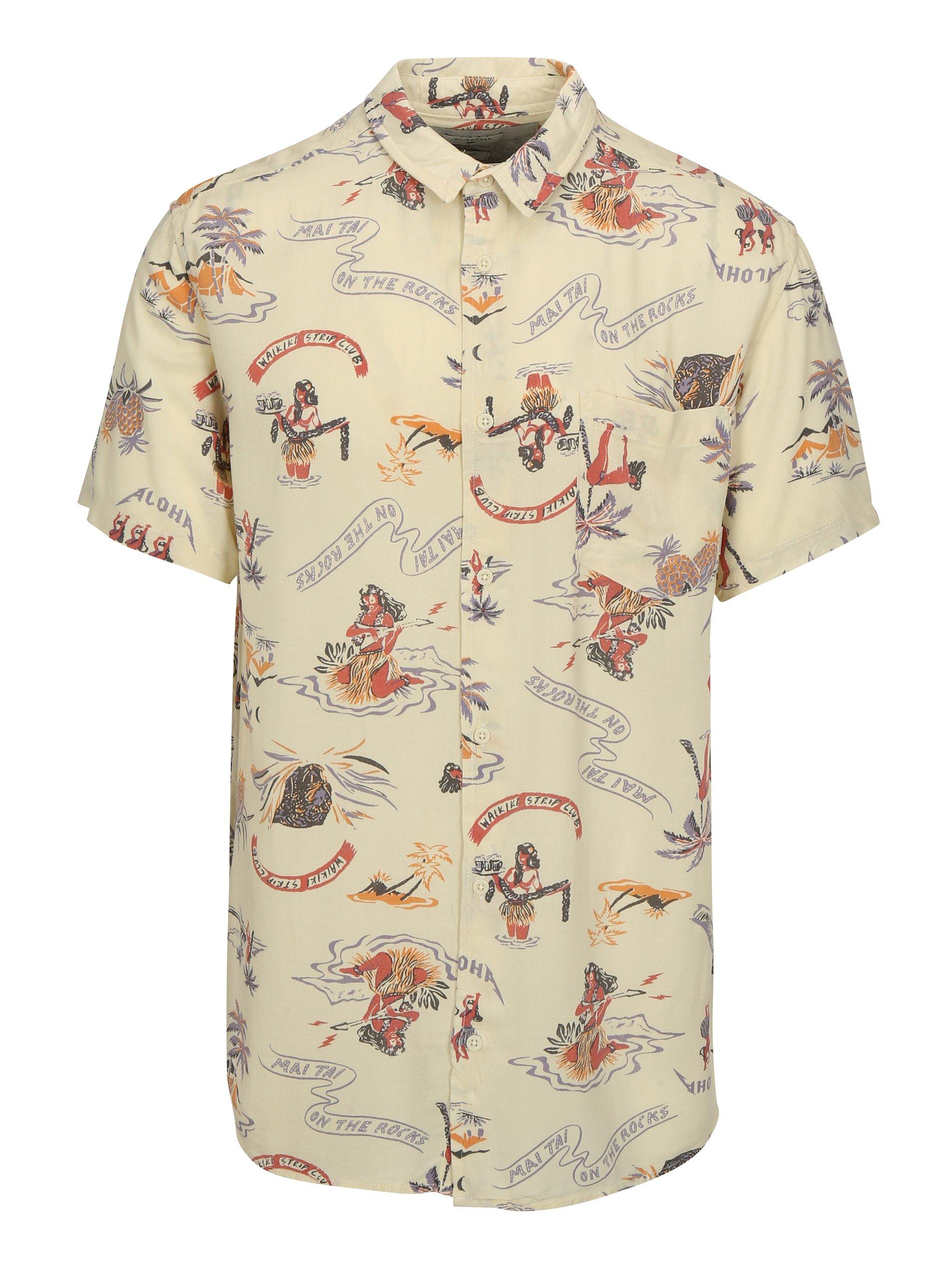 Béžová pánská vzorovaná tall fit košile Quiksilver
