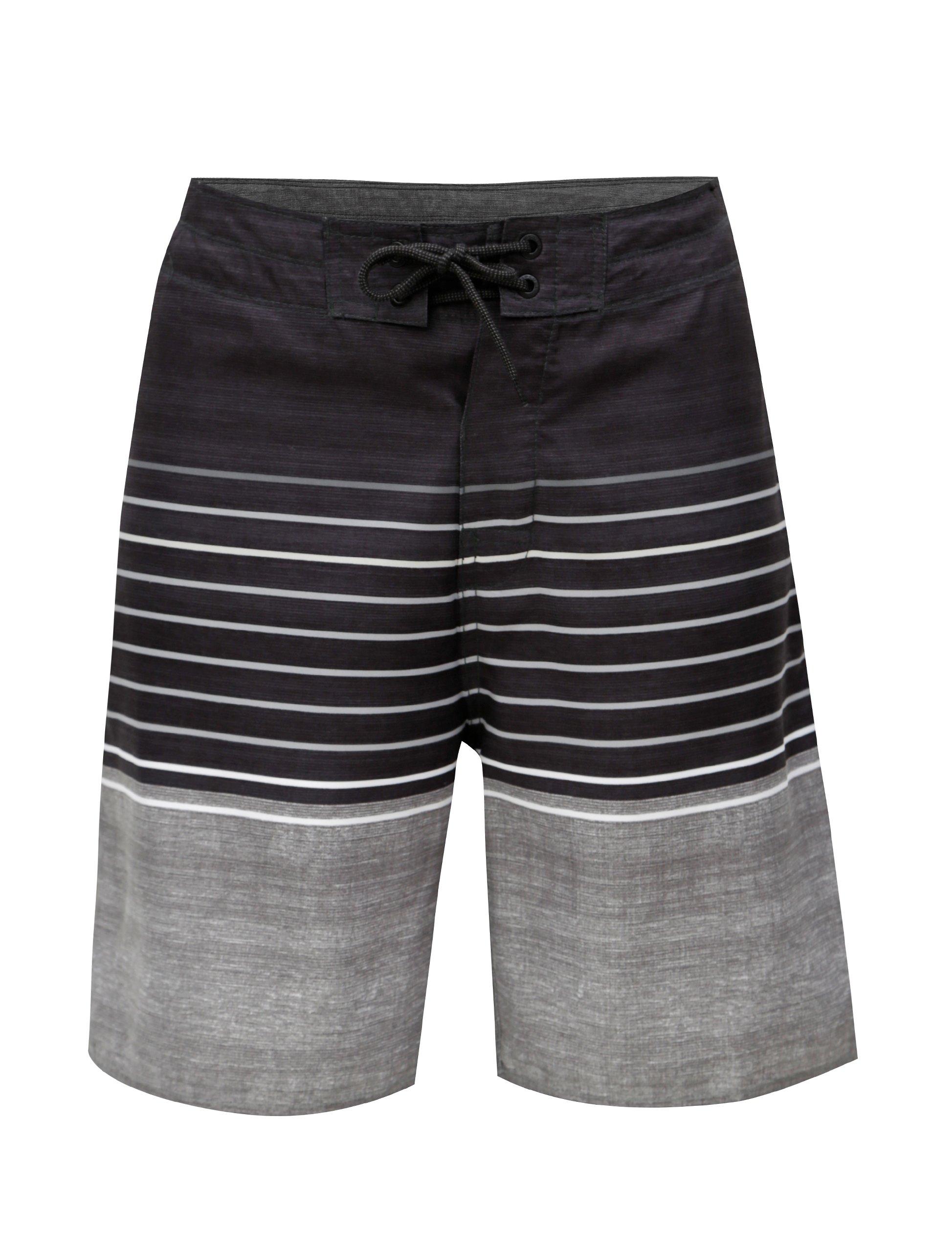 Tmavě šedé pánské pruhované plavky Rip Curl