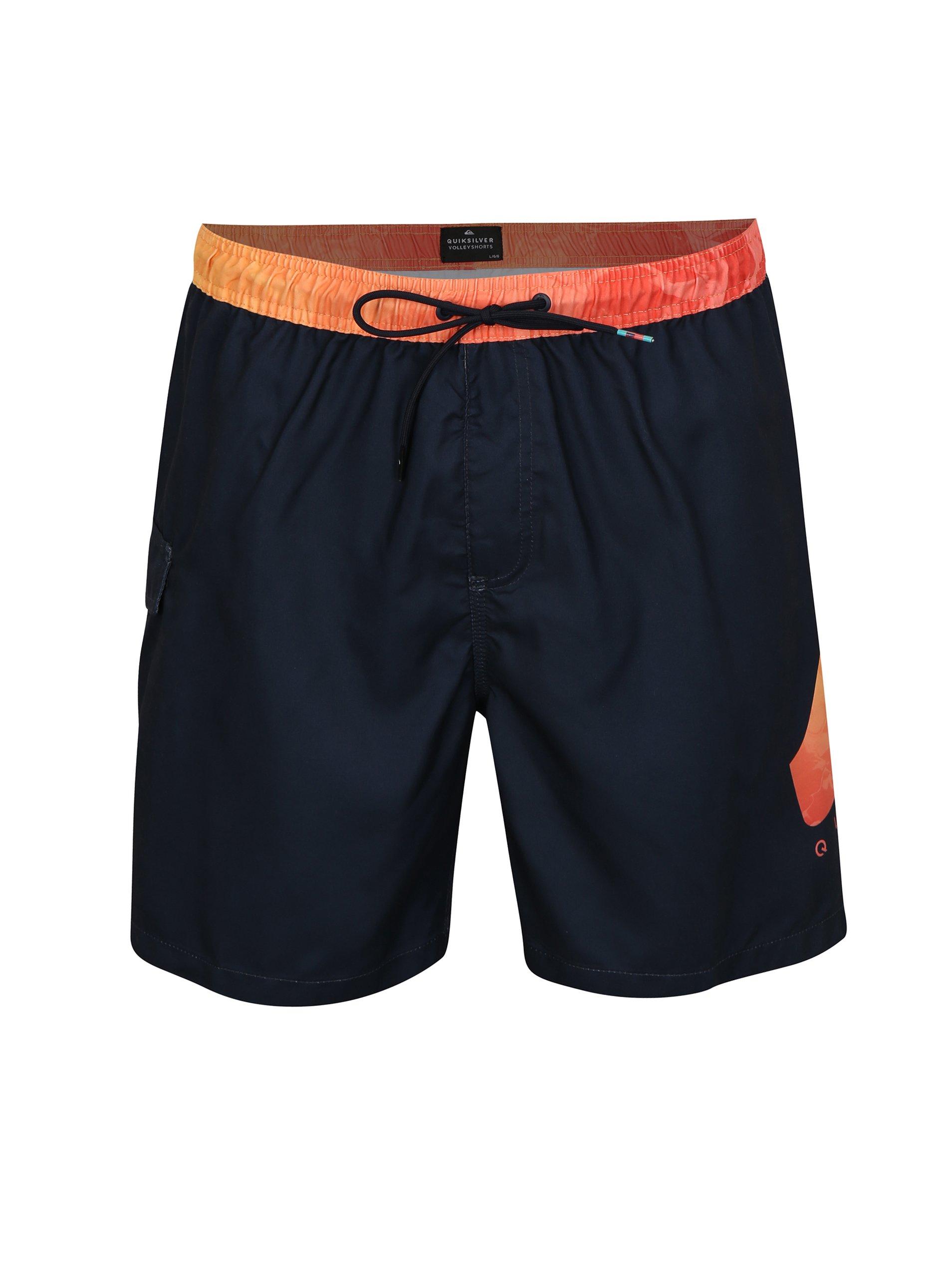 Oranžovo-modré pánske plavky s potlačou Quiksilver 3c9f3a9f58