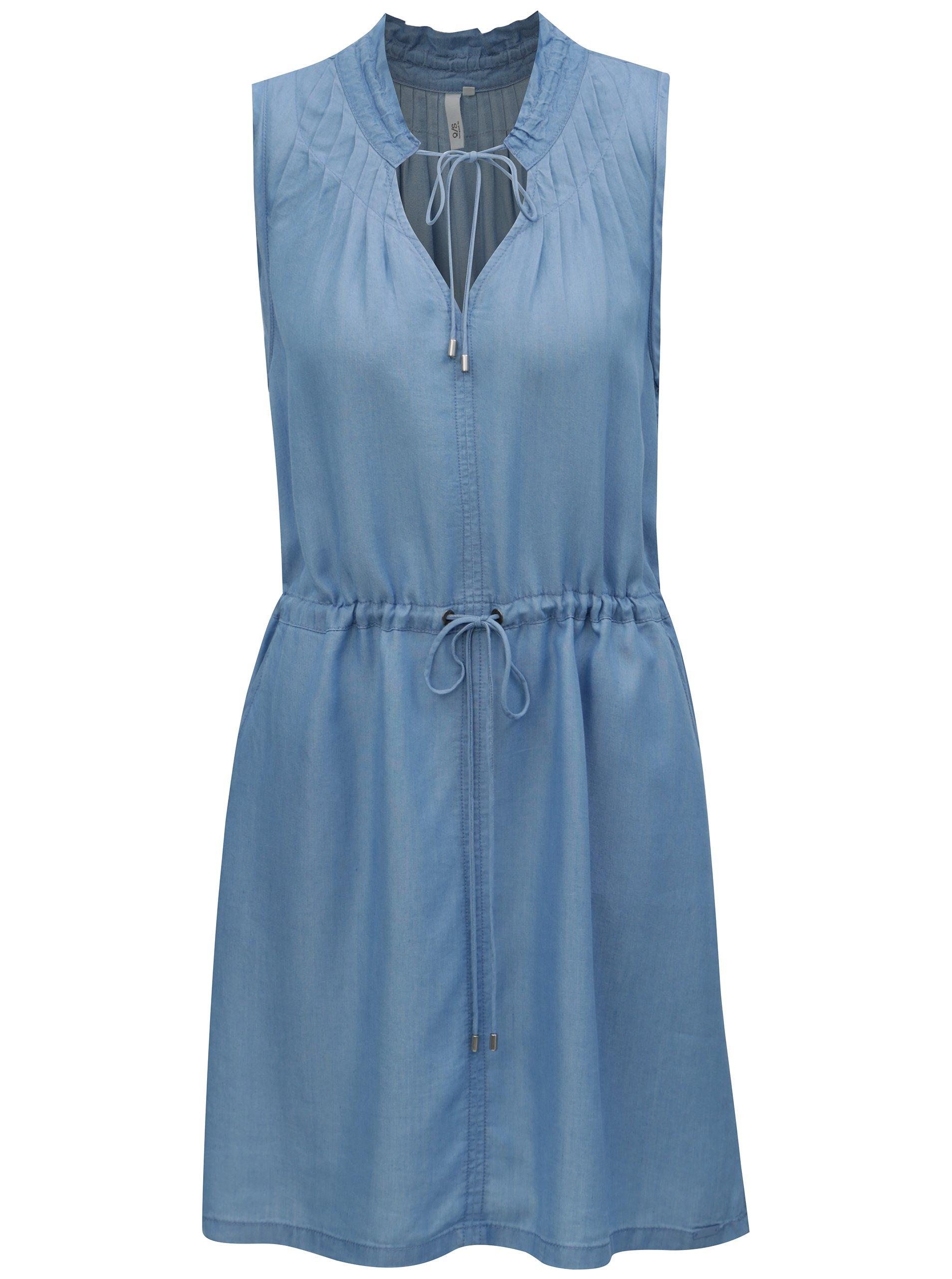 Světle modré šaty se zavazováním v pase QS by s.Oliver