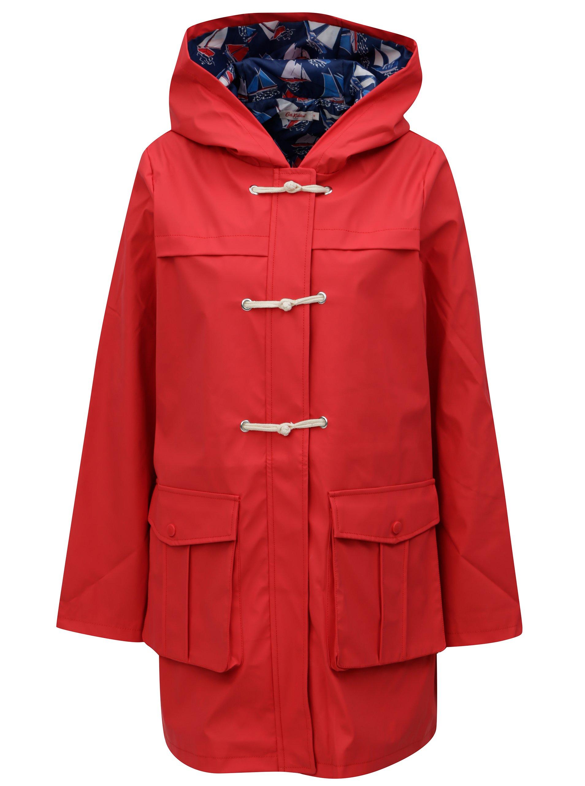 Červená dámská nepromokavá lehká bunda s kapucí Cath Kidston