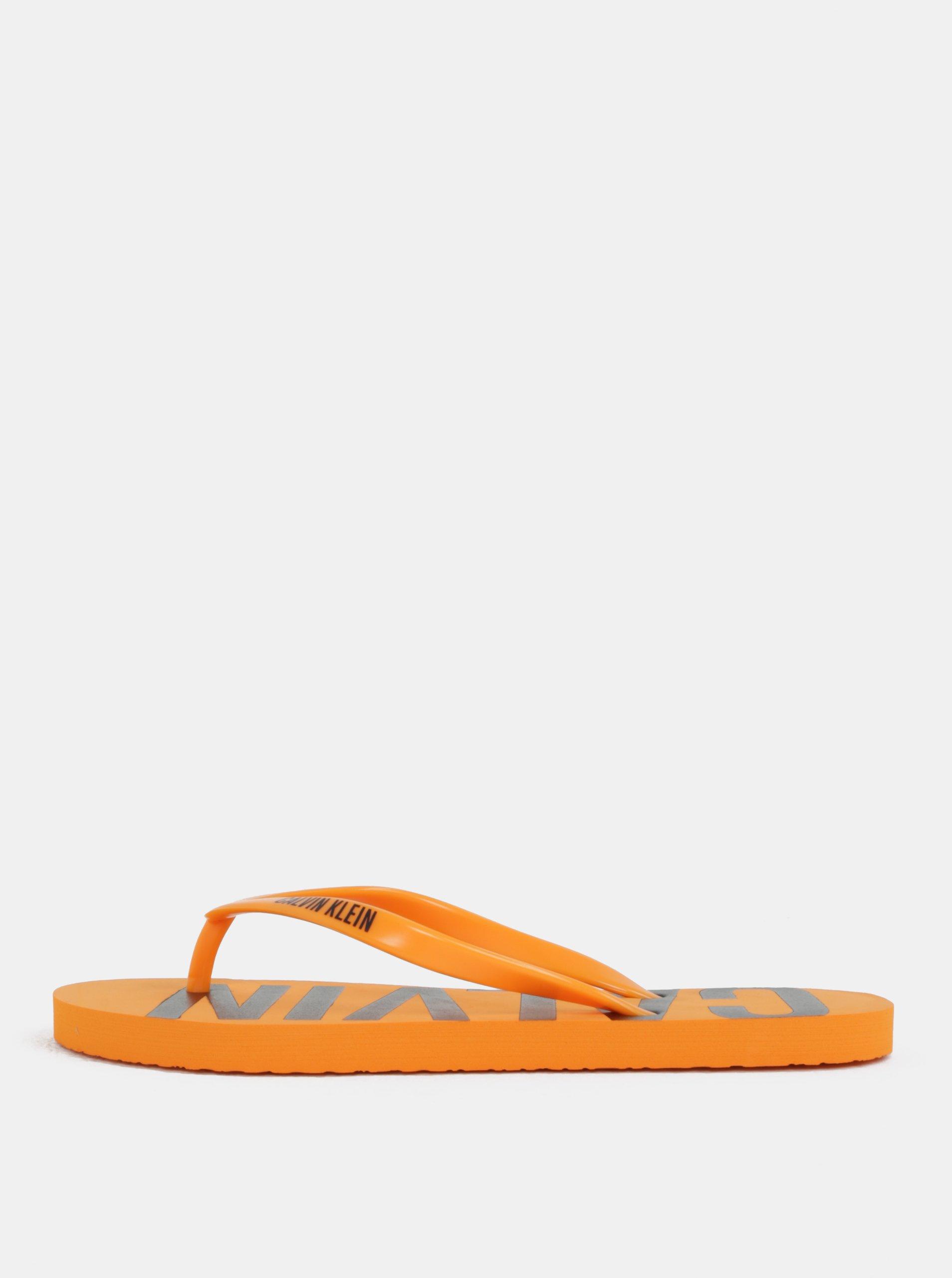 Oranžové dámske žabky Calvin Klein