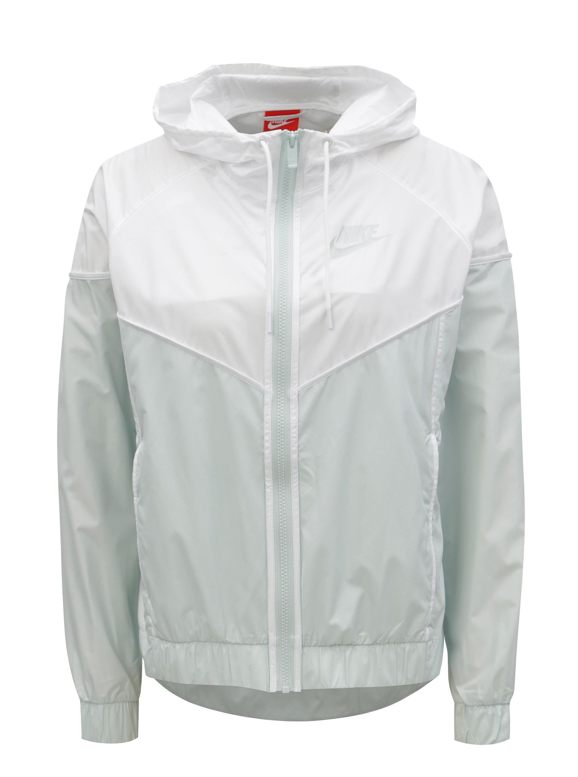 Bílo-mentolová dámská lehká bunda na zip Nike