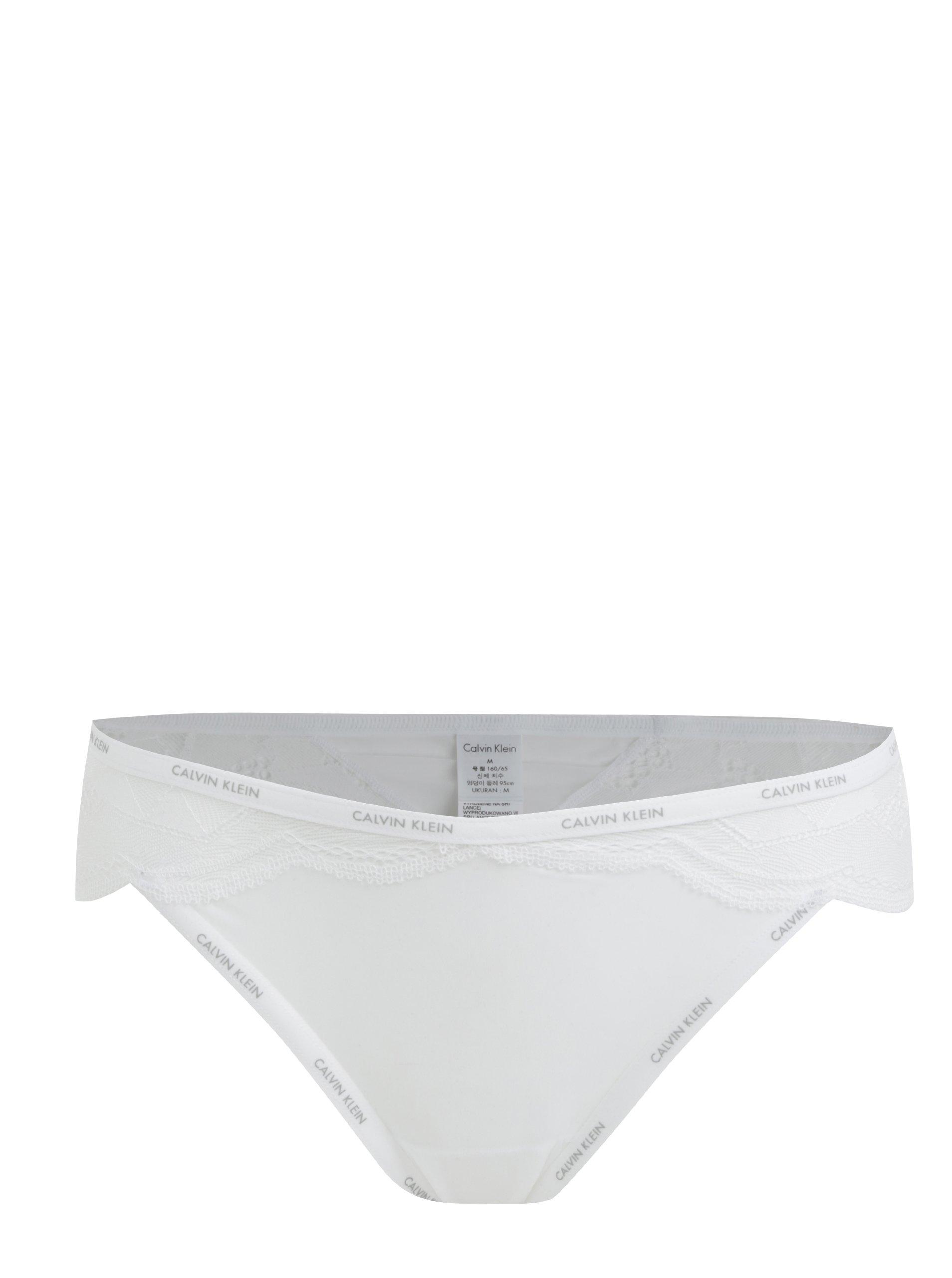 Fotografie Bílé krajkové dámské kalhotky Calvin Klein Underwear
